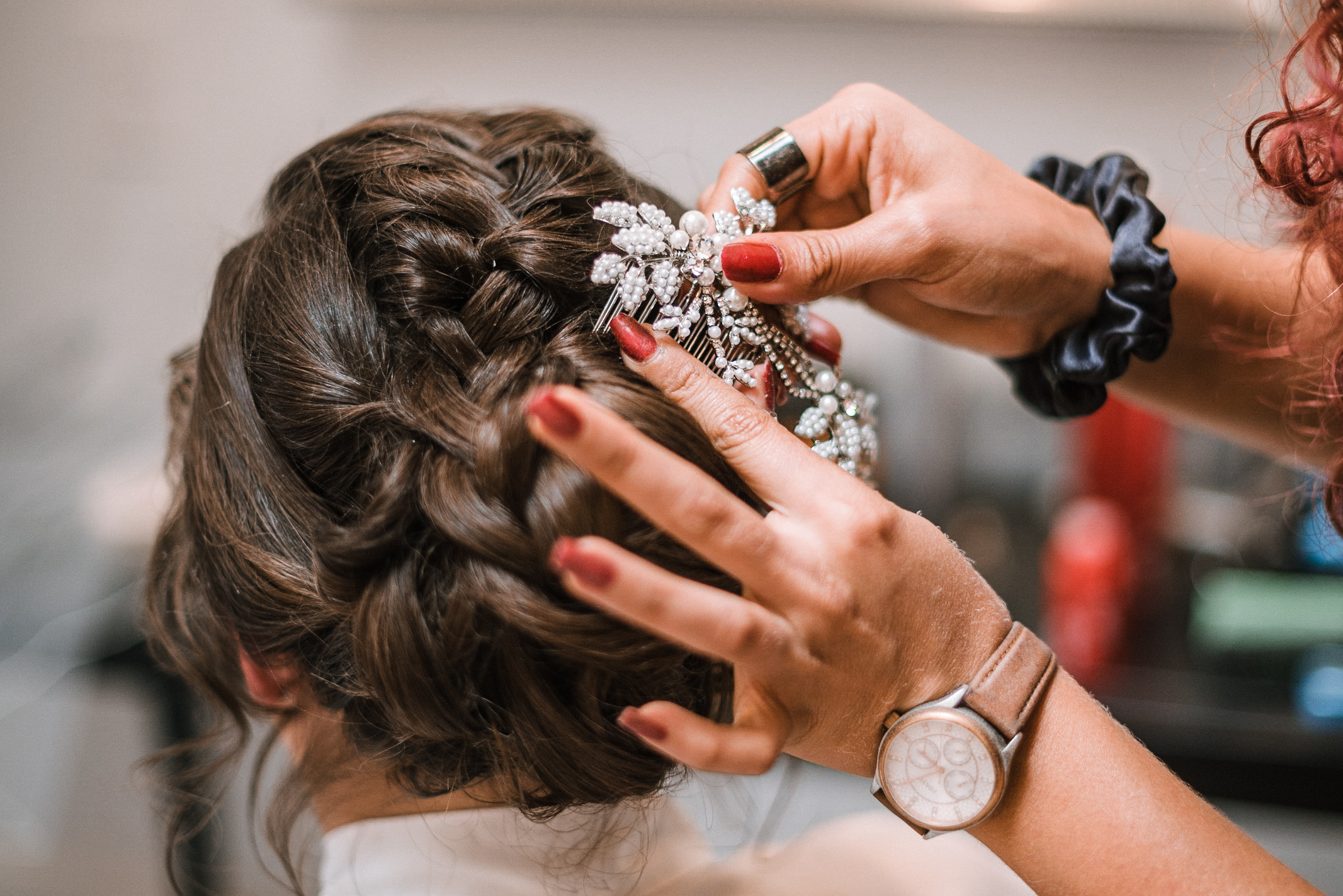 detail shot of bride's hair at Birkby House