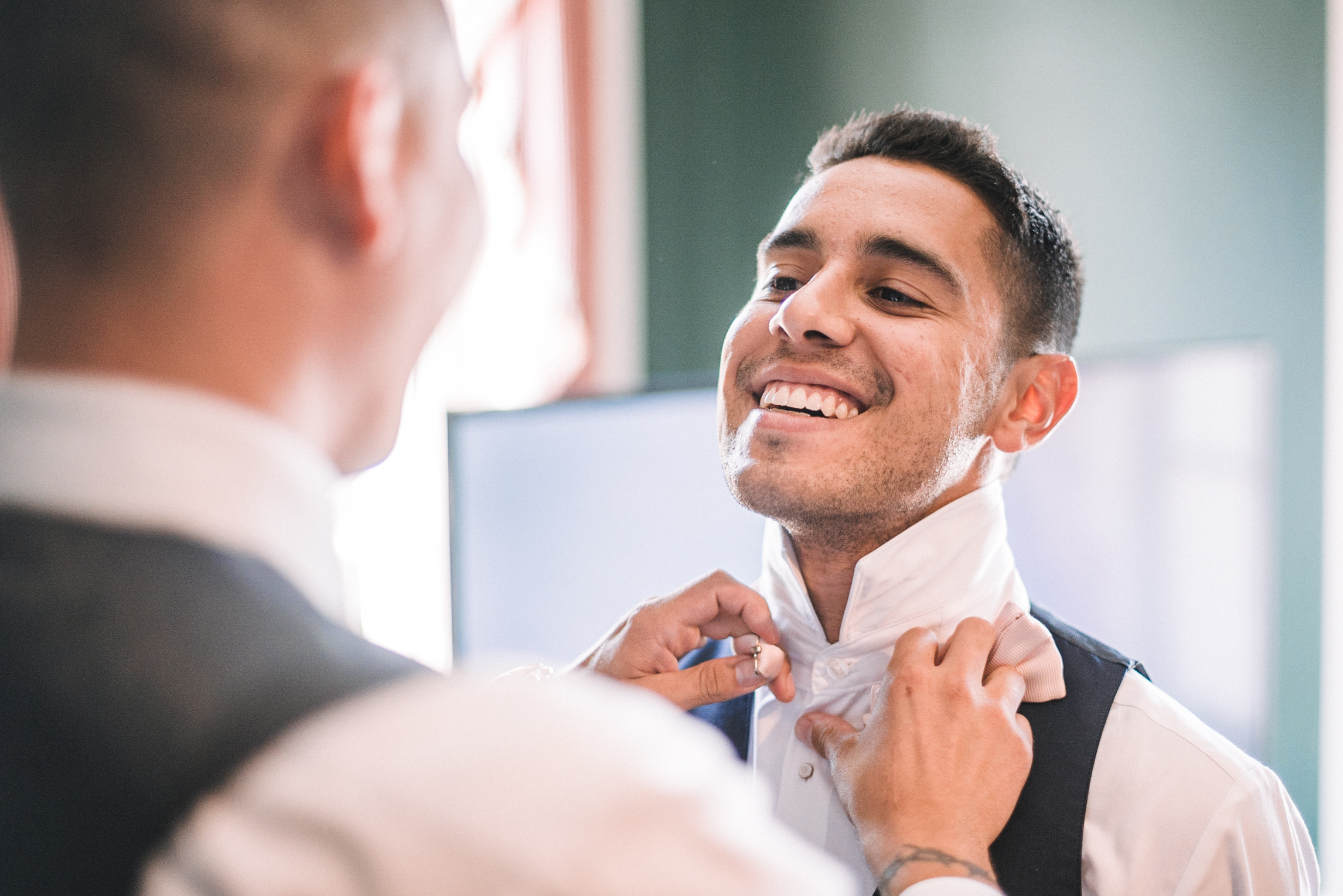 groom getting ready at Birkby House