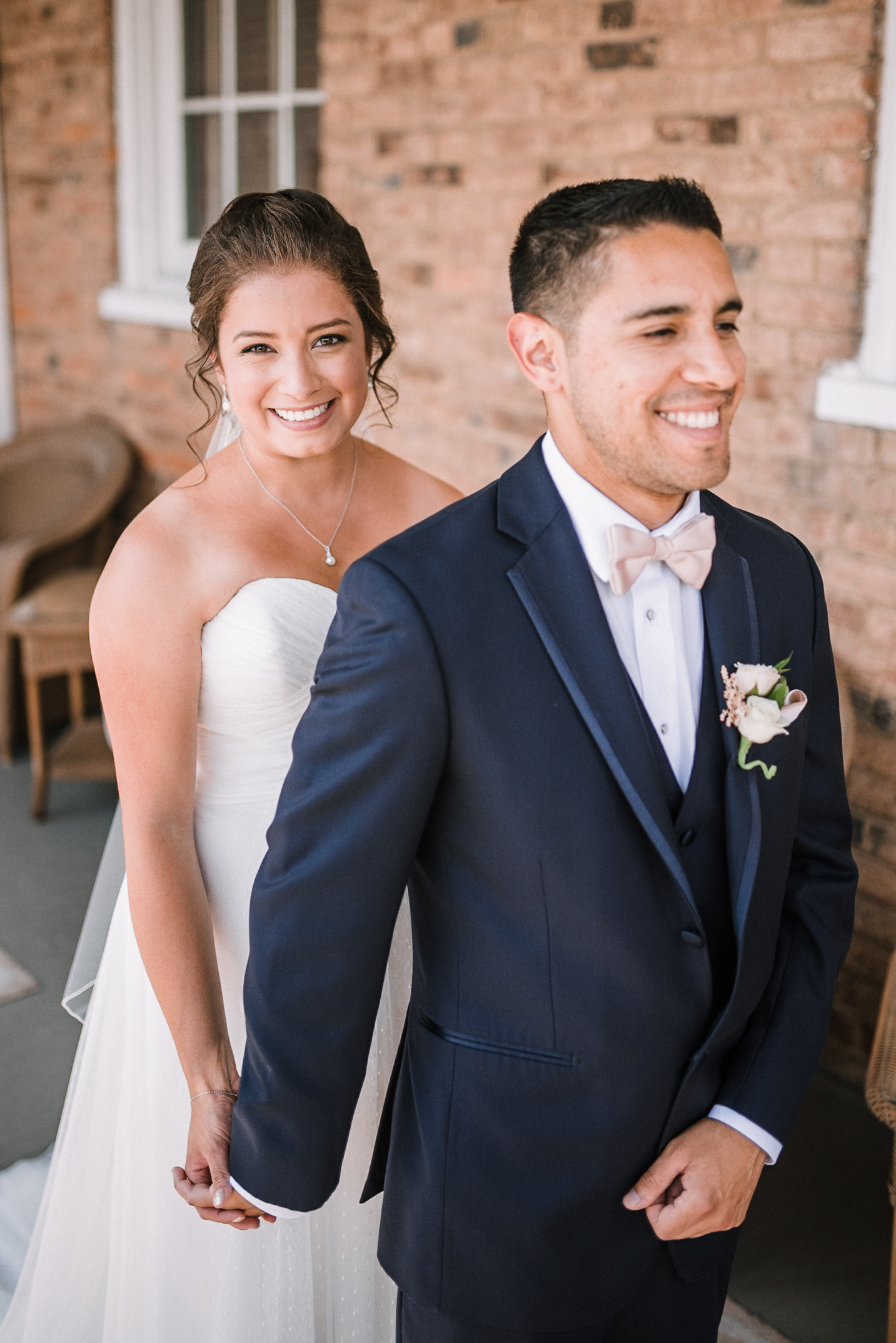 bride and groom first touch at Birkby House