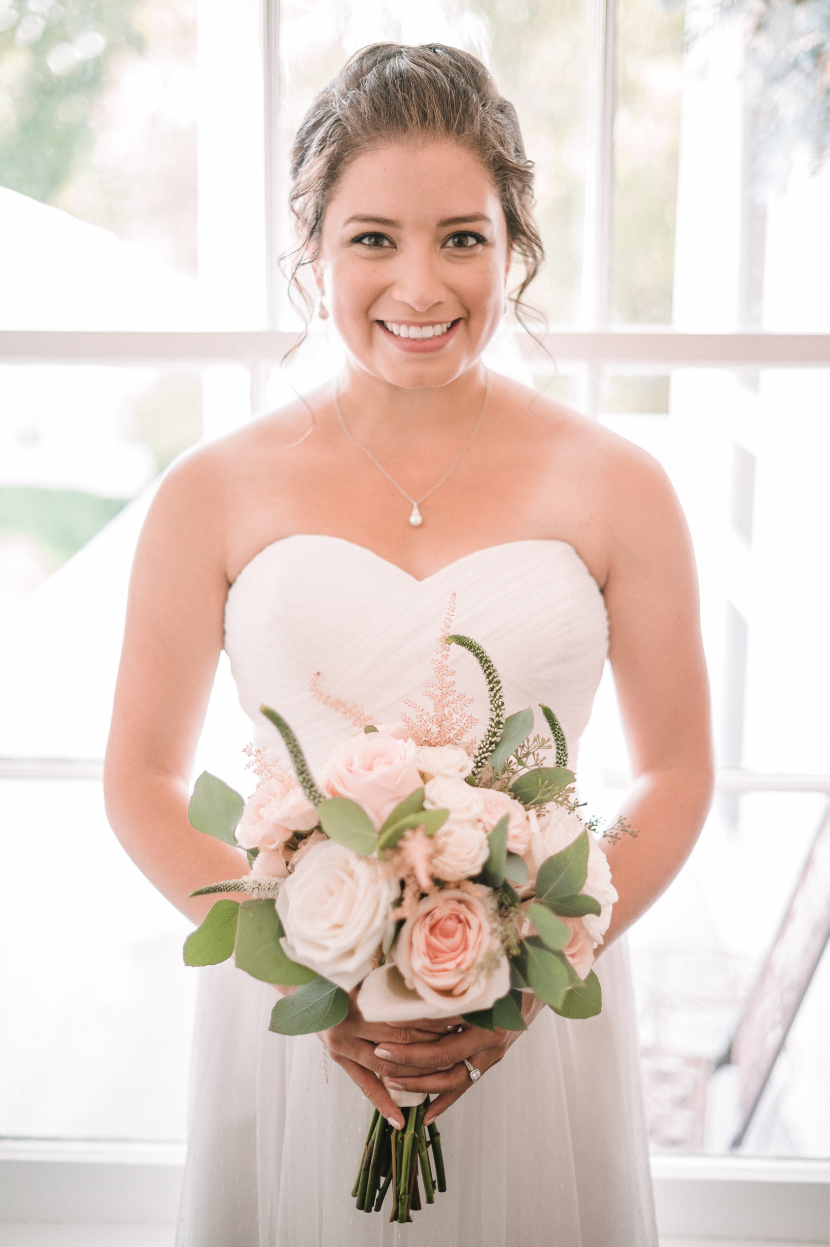 bride smiling at Birkby House