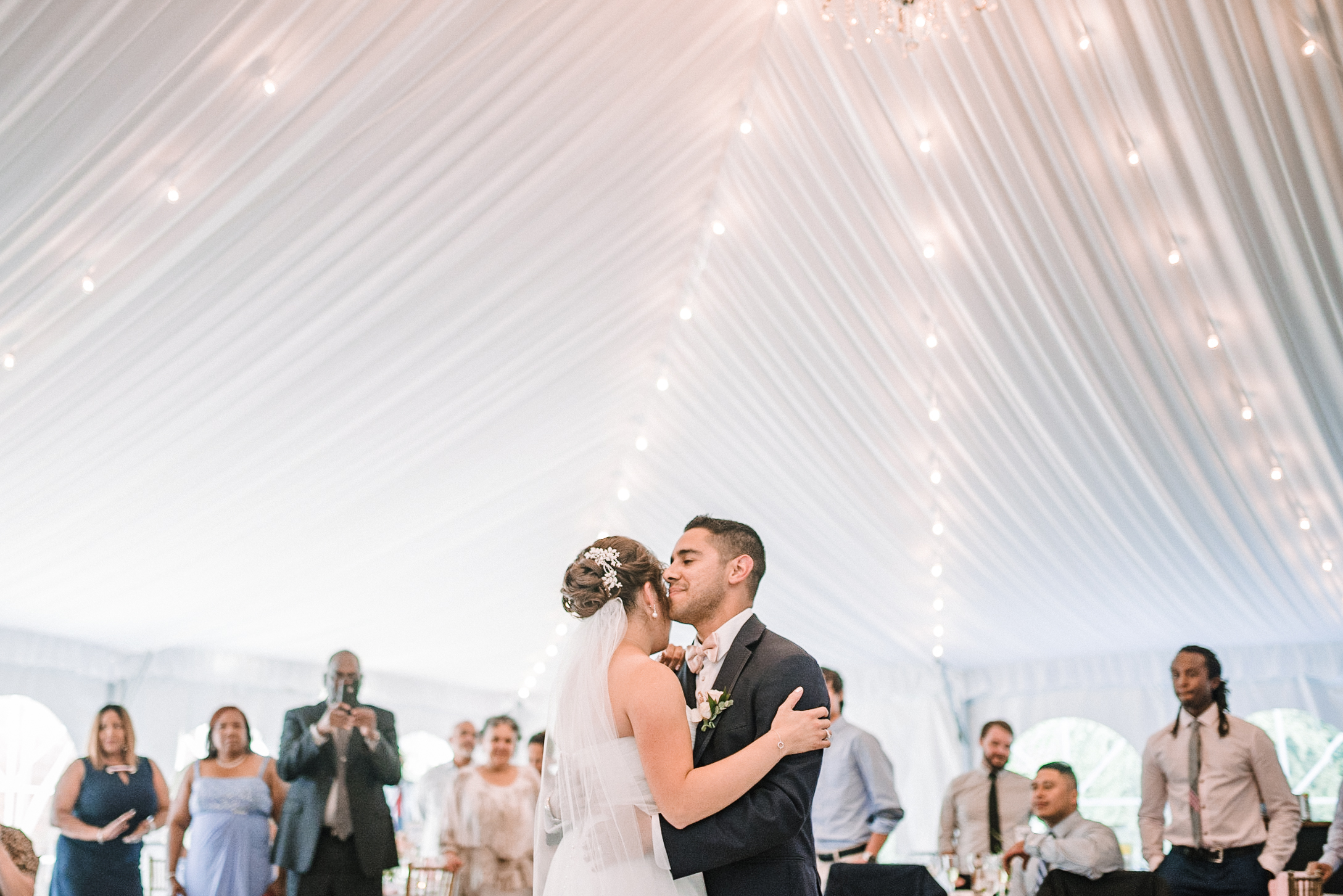 bride and groom first dance at Birkby House