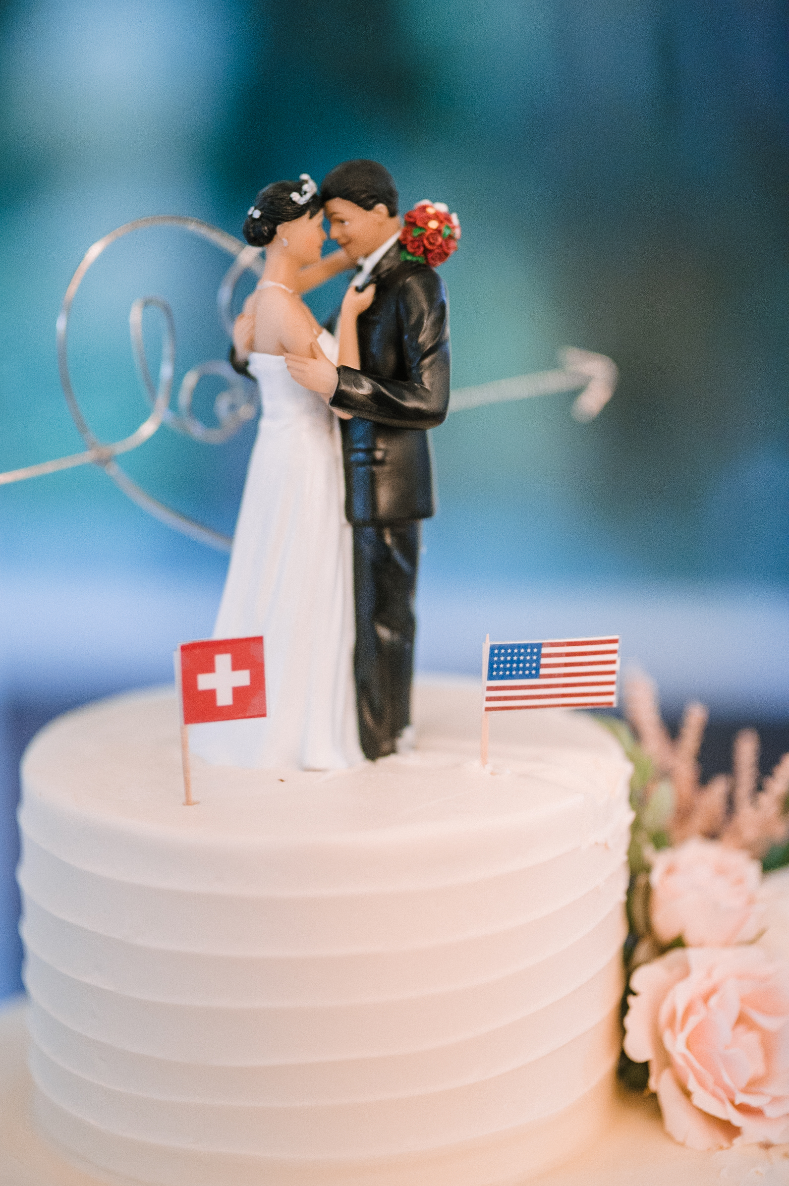 bride and groom wedding cake detail at Birkby House