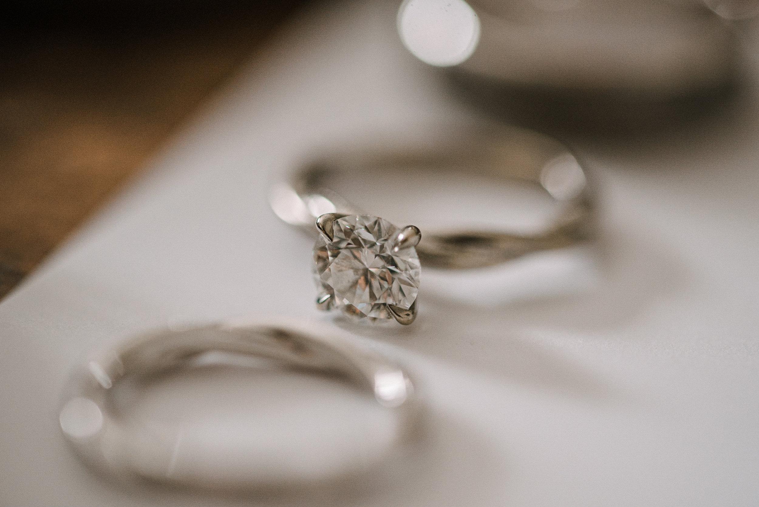 detail shot of wedding rings at Faithbrooke Barn & Vineyards
