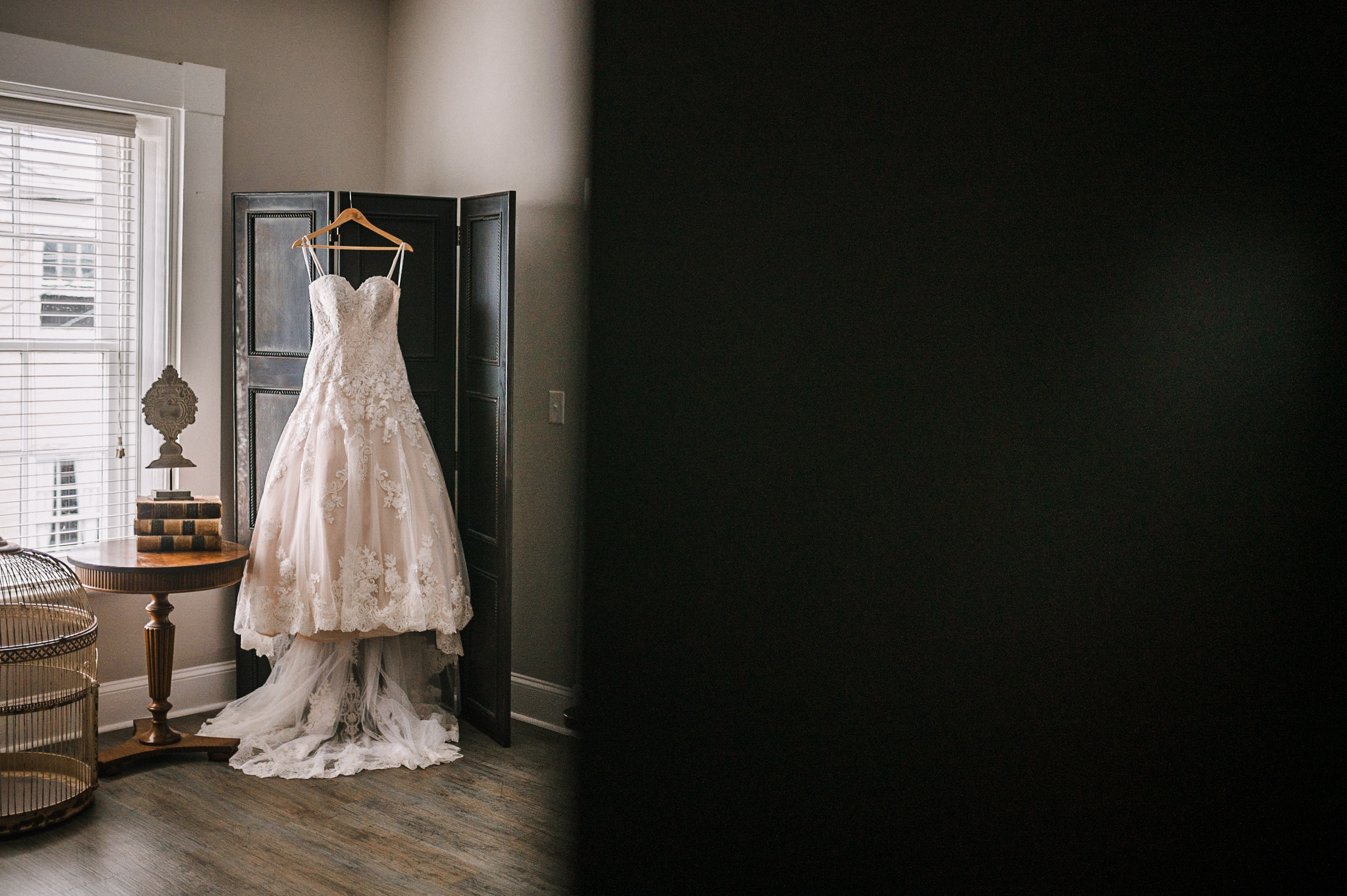 detail shot of wedding dress at Faithbrooke Barn & Vineyards