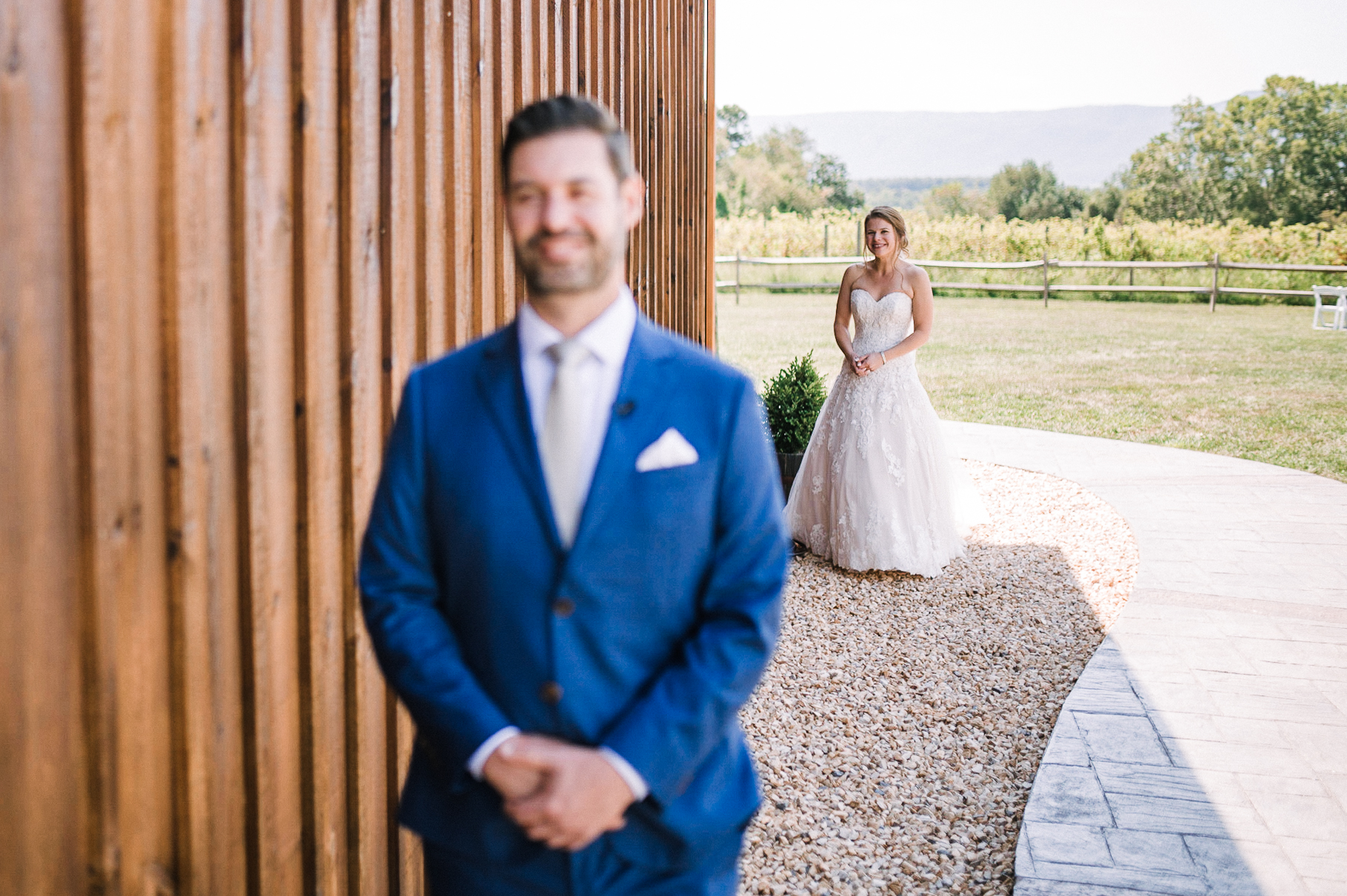 bride and groom first look at Faithbrooke Barn & Vineyards