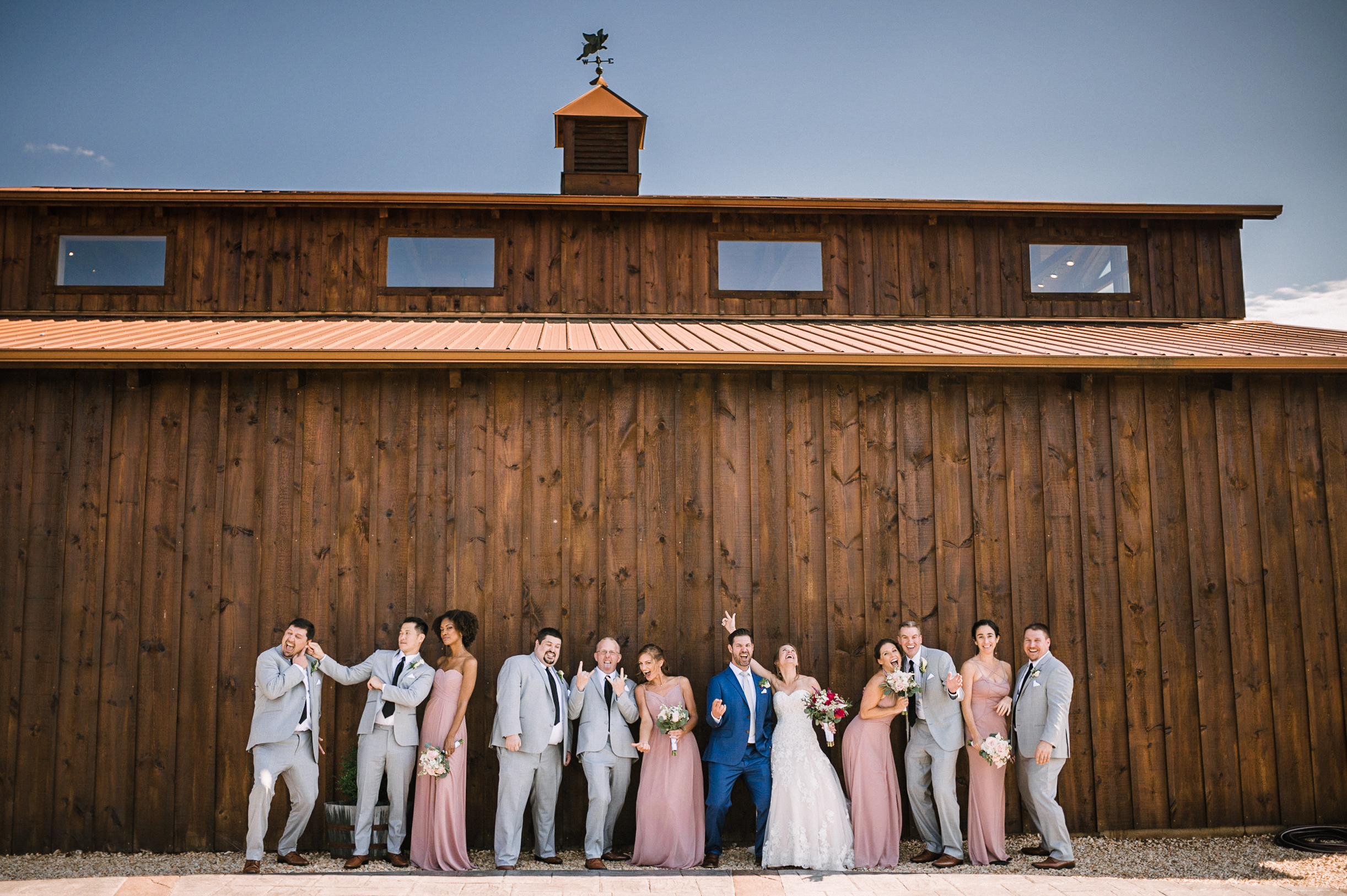 wedding party being goofy at Faithbrooke Barn & Vineyards