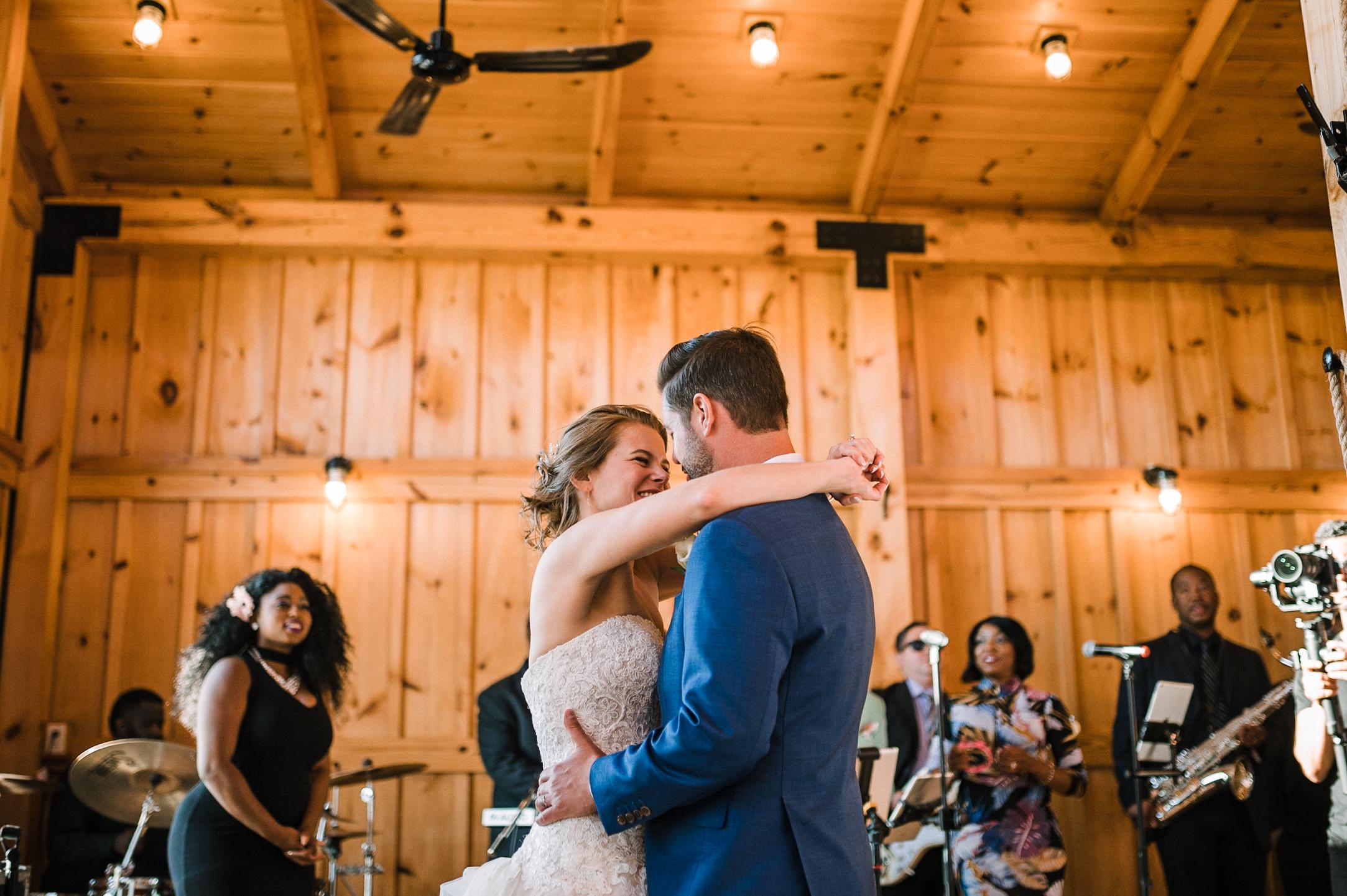 bride and groom dancing at reception at Faithbrooke Barn & Vineyards