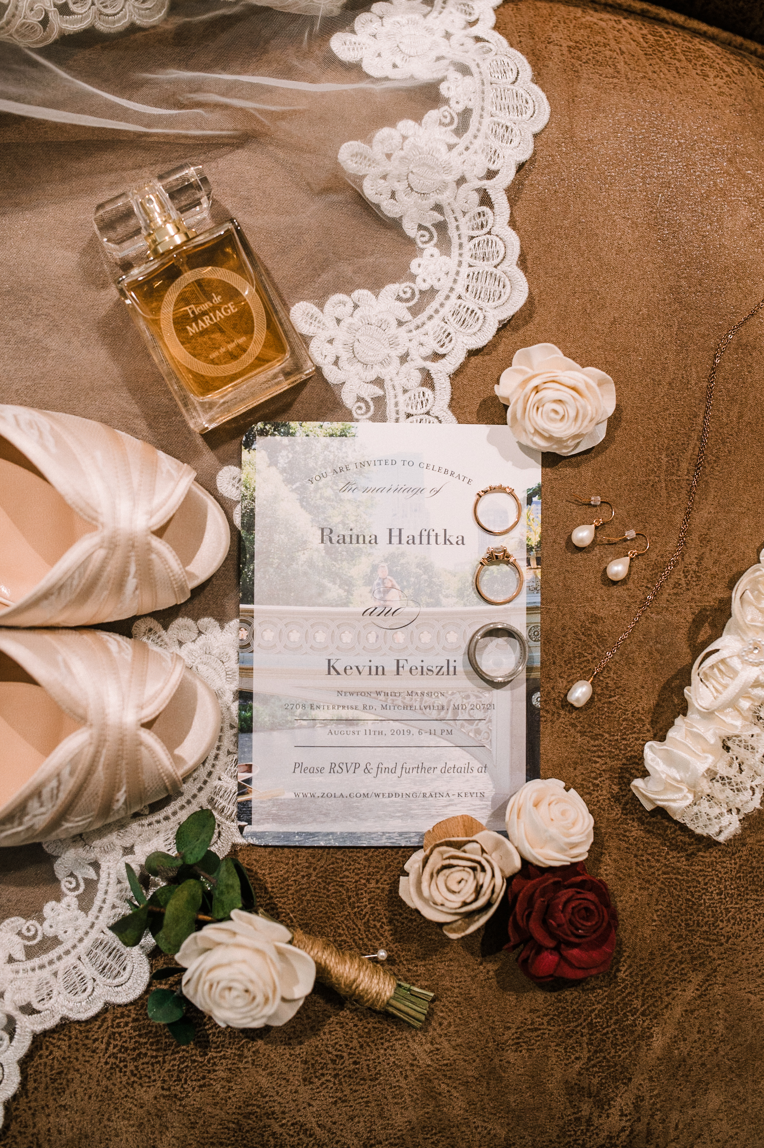 Bridal Detail Shot of Wedding Stationery and Rings at The Newton White Mansion