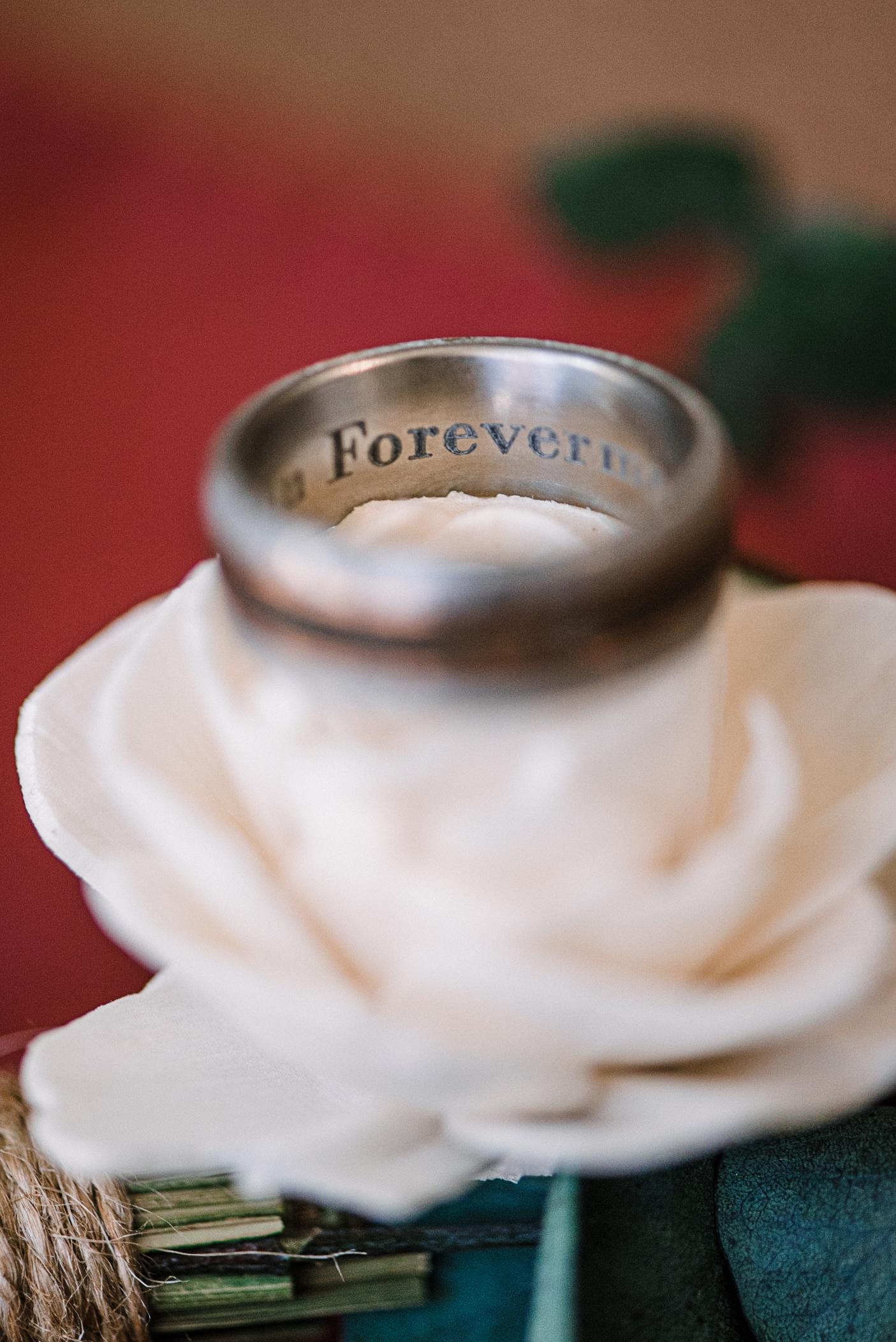 detail shot of wedding rings at The Newton White Mansion