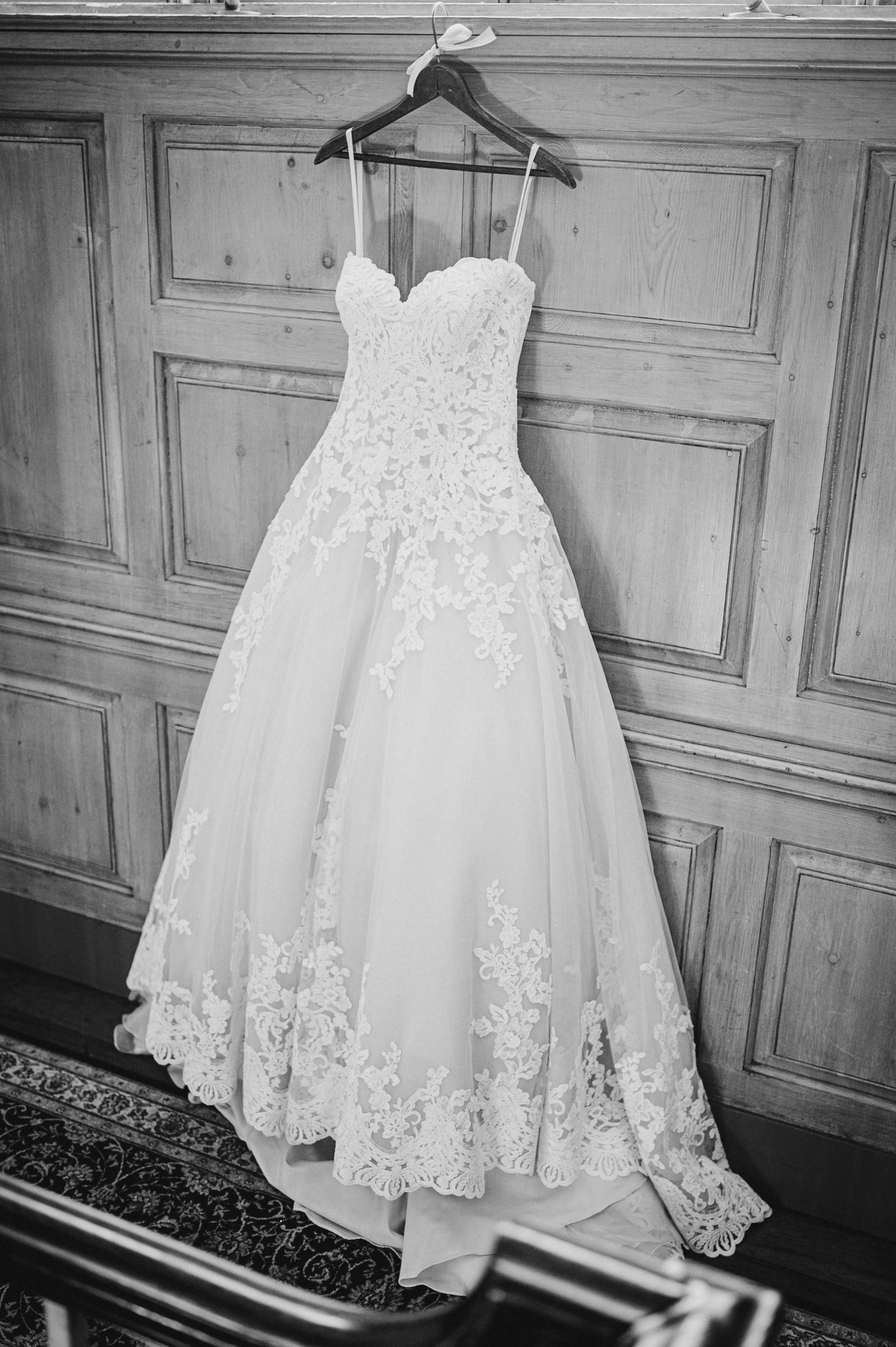 detail shot of wedding dress at The Newton White Mansion