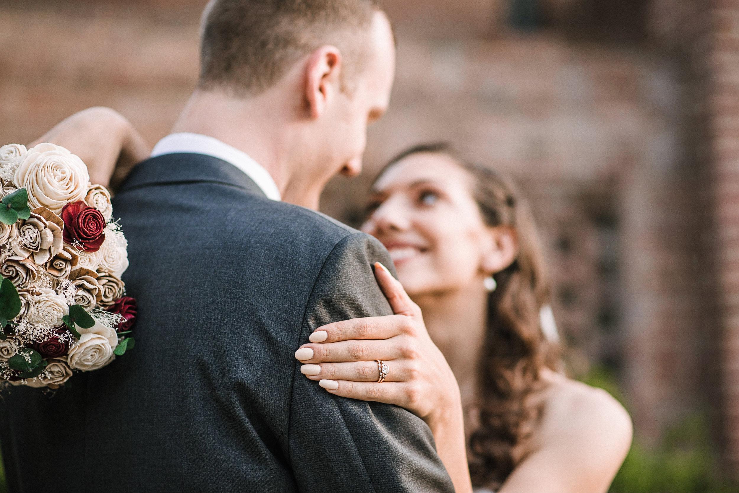 detail shot of wedding ring at The Newton White Mansion