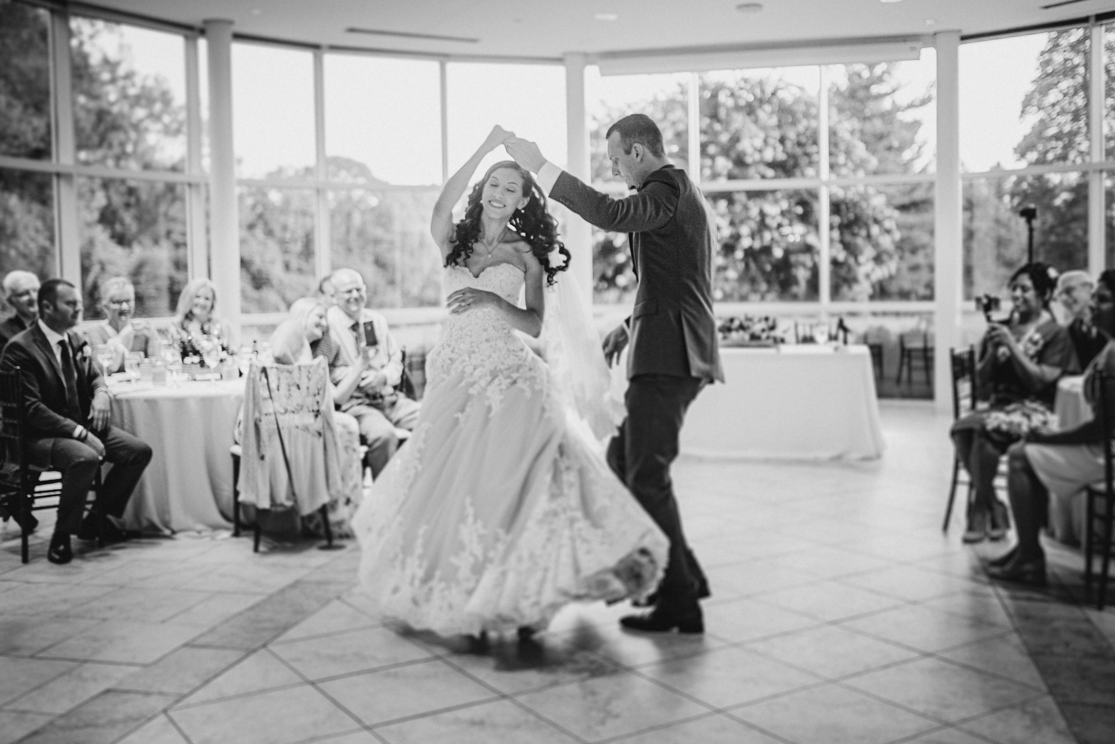 bride and groom having first dance at The Newton White Mansion