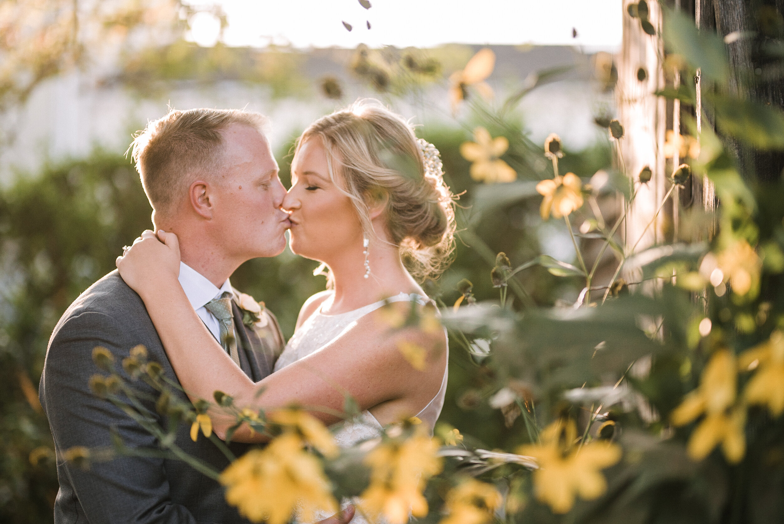 Bride and Groom Kissing at Birkby House