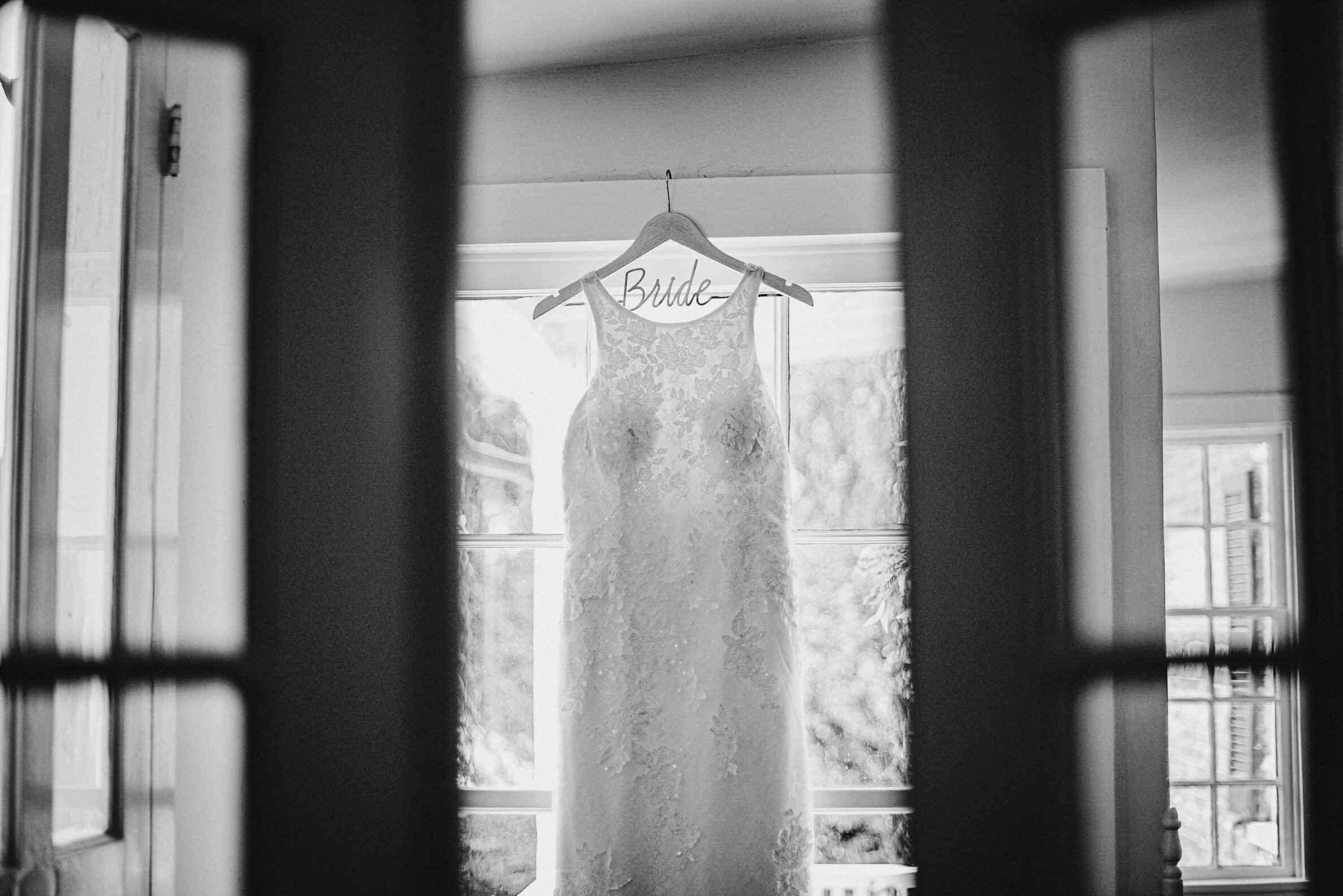 Detail shot of wedding dress at Birkby House