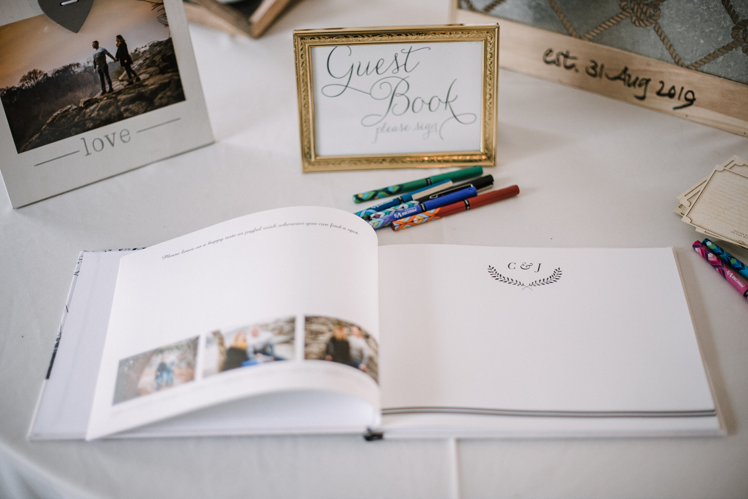 detail shot of guest book at Birkby House