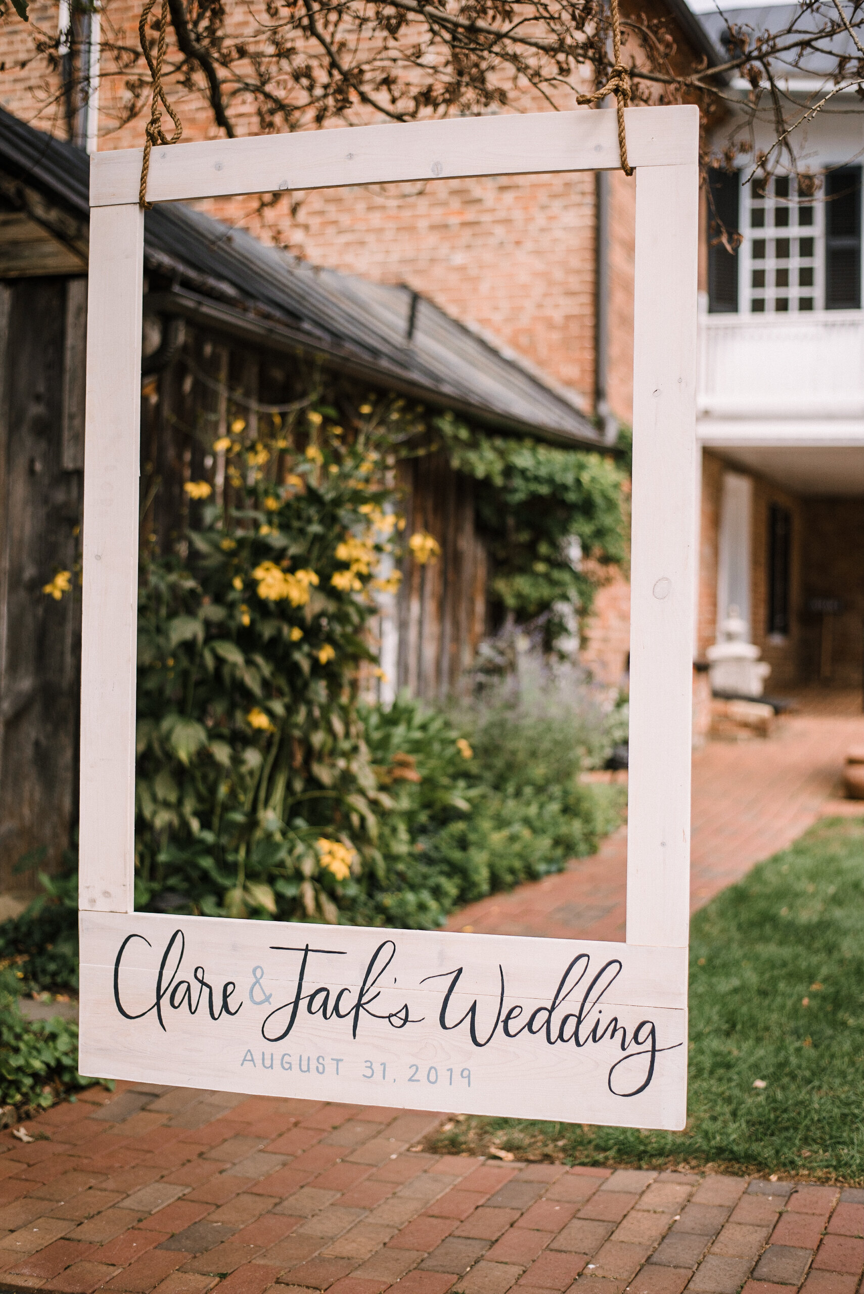 Reception wedding sign at Birkby House