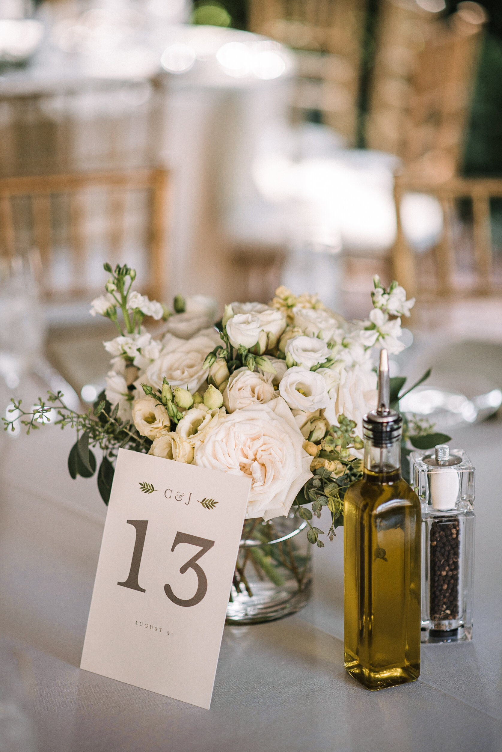Reception table details at Birkby House