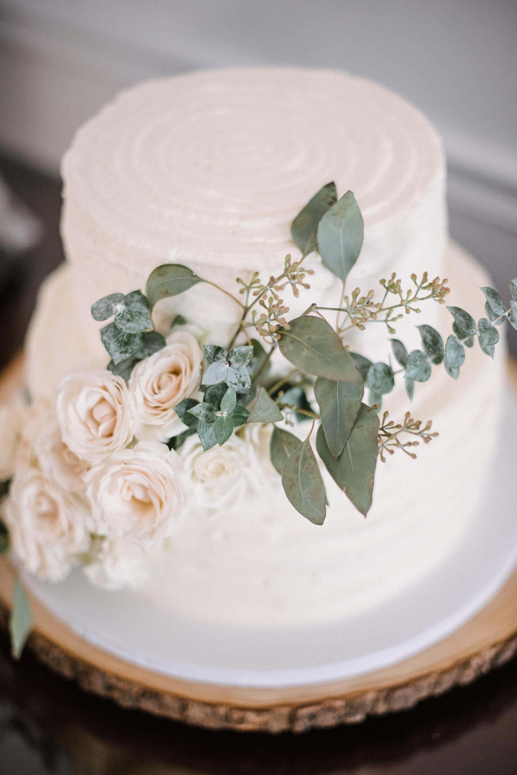 detail shot of wedding cake at Birkby House