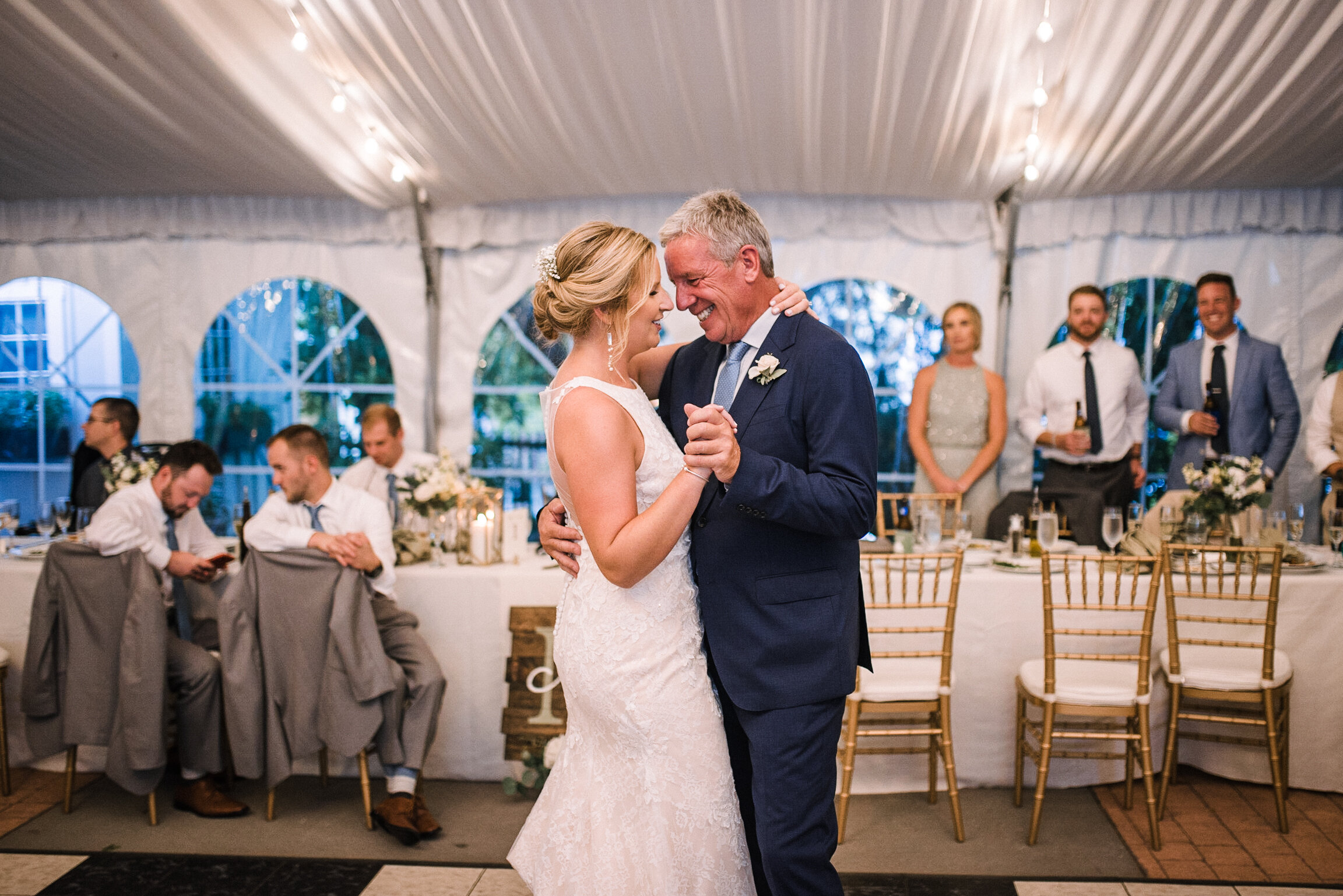 bride and dad dancing at Birkby House