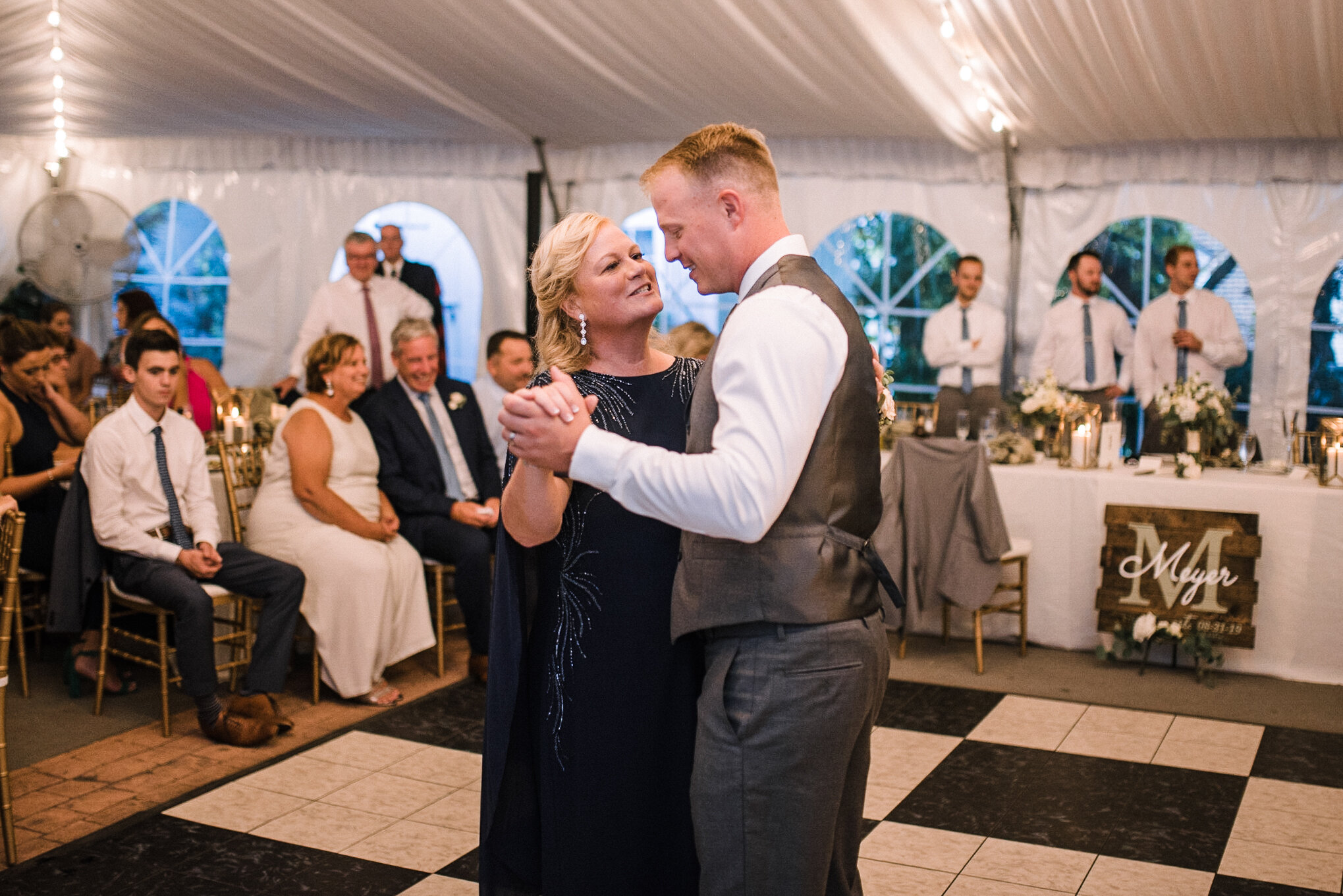 groom and mother dancing at Birkby House