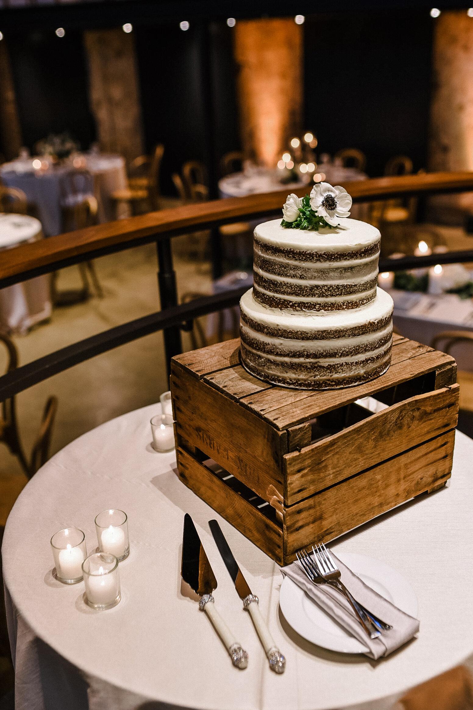 wedding cake detail shot at The Winslow