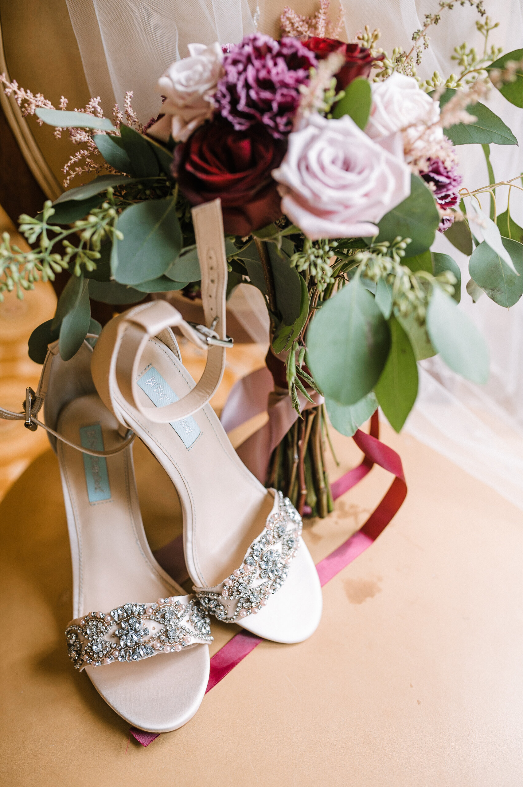 detail shot of wedding shoes at Westfields Golf Club