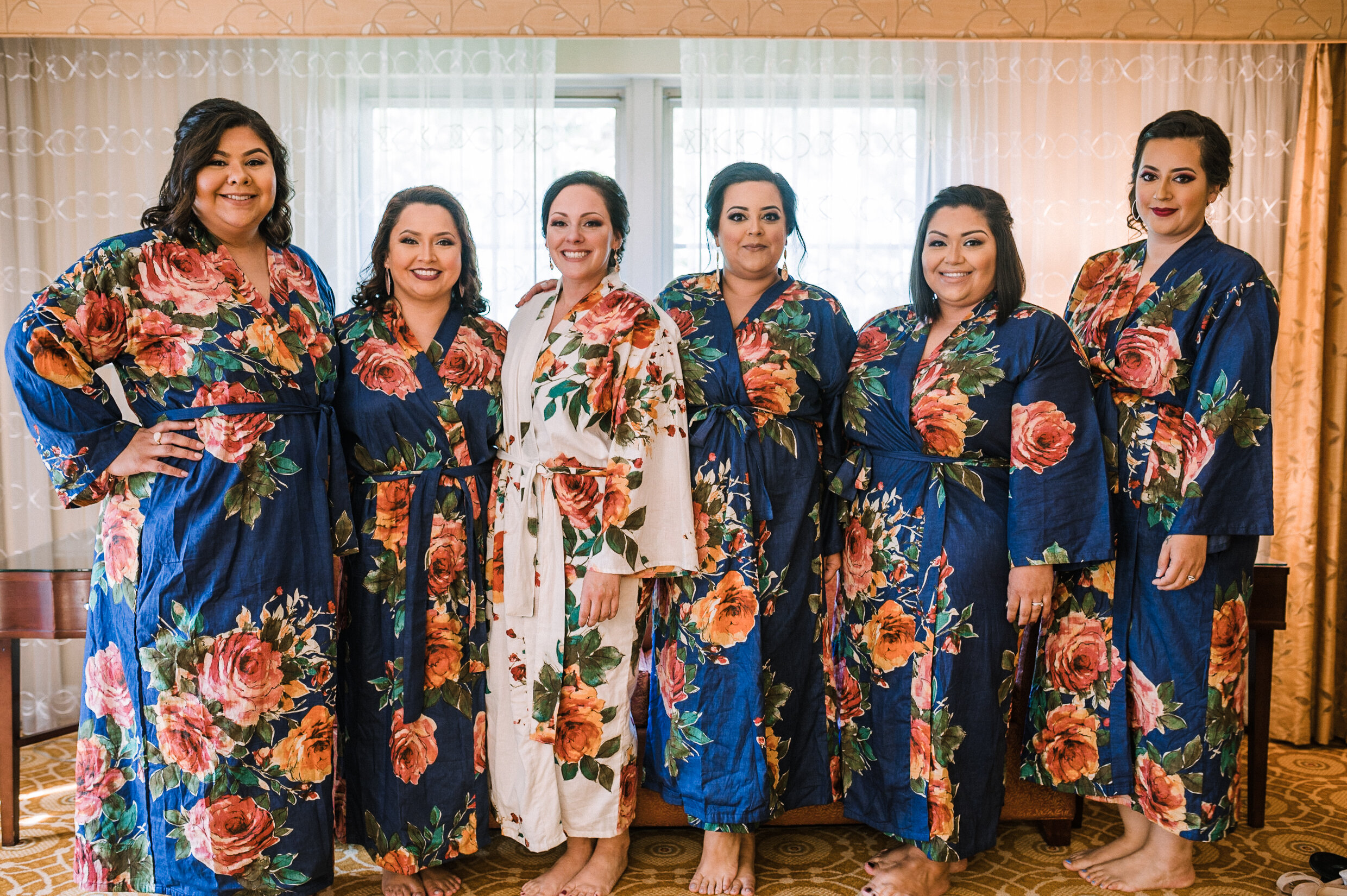 bride and bridesmaids in robes at Westfields Golf Club
