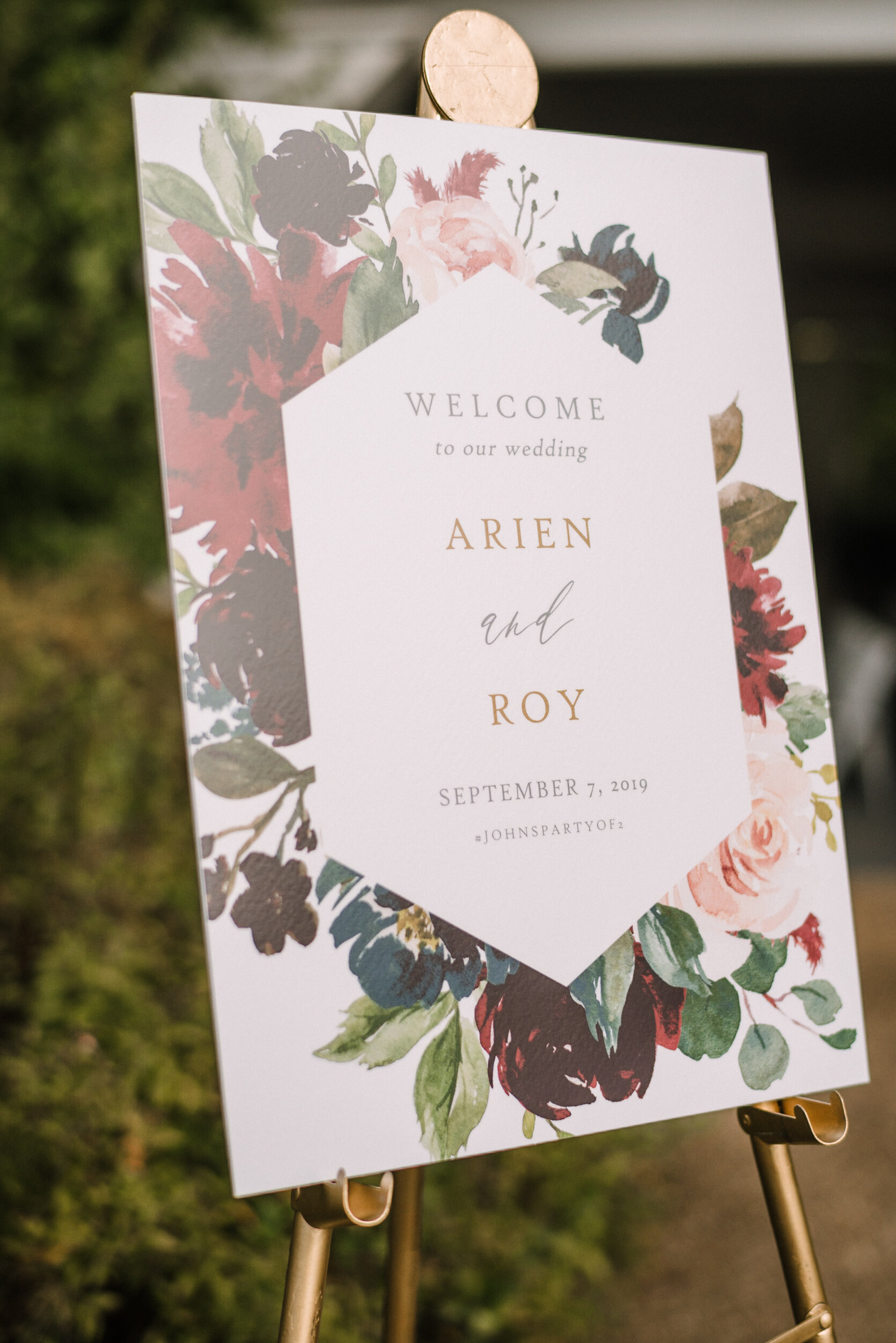 ceremony sign at Westfields Golf Club