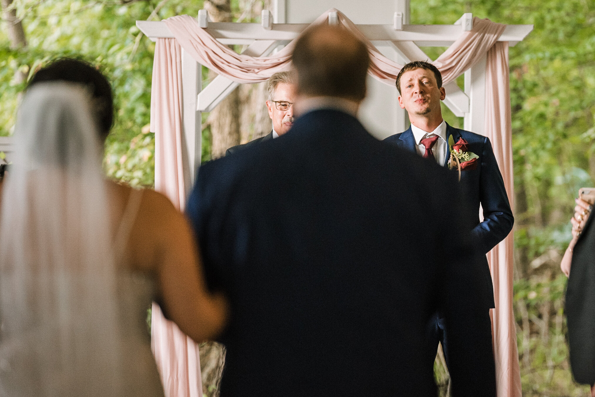 grooms reaction to bride at ceremony at Westfields Golf Club