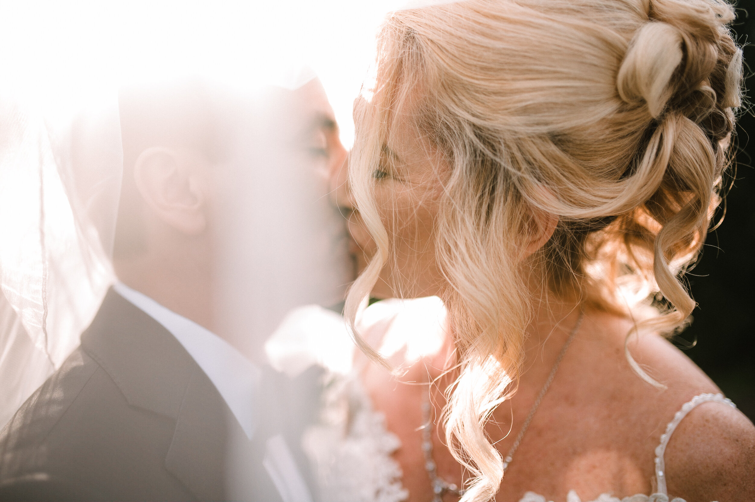 bride and groom kissing under veil at Rust Manor House