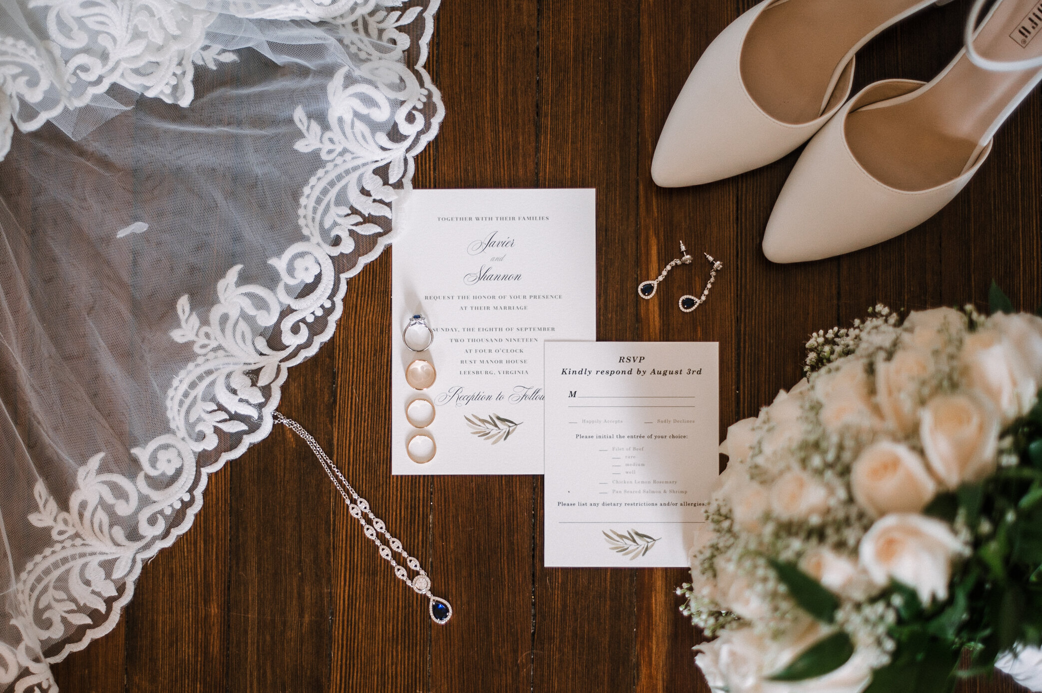 detail shot of wedding stationery at Rust Manor House