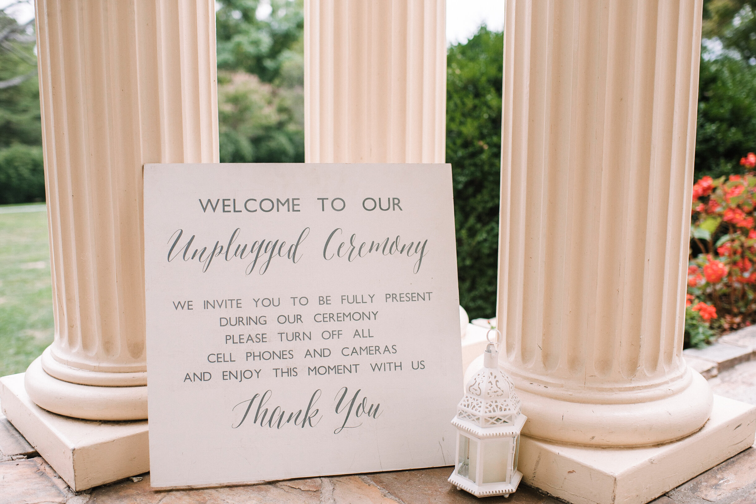 ceremony sign at Rust Manor House