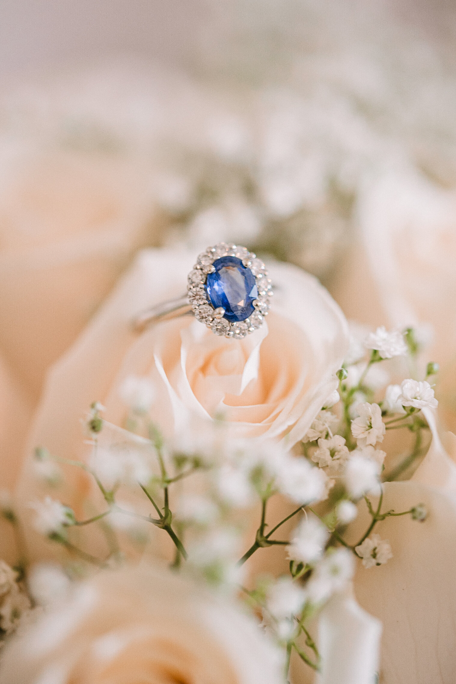 detail shot of wedding ring in flower at Rust Manor House