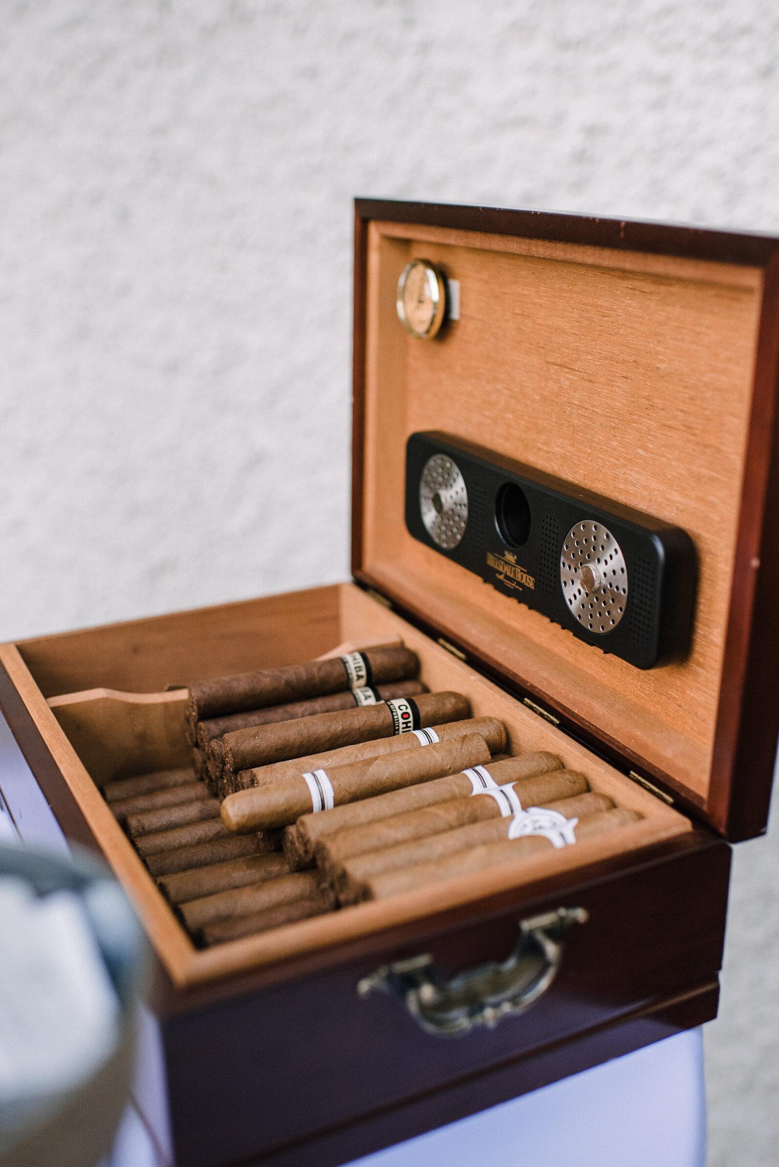 cigar box details at reception at Rust Manor House