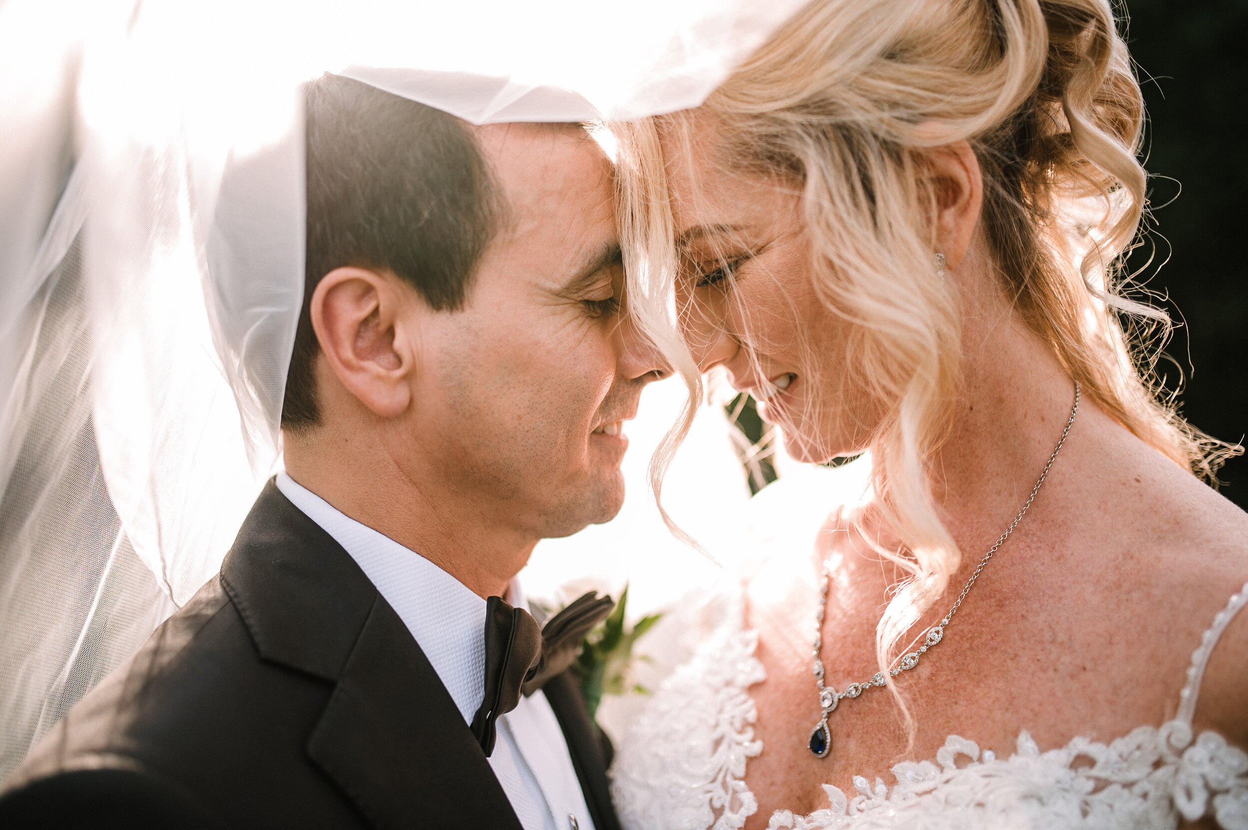 bride and groom embracing under veil at Rust Manor House