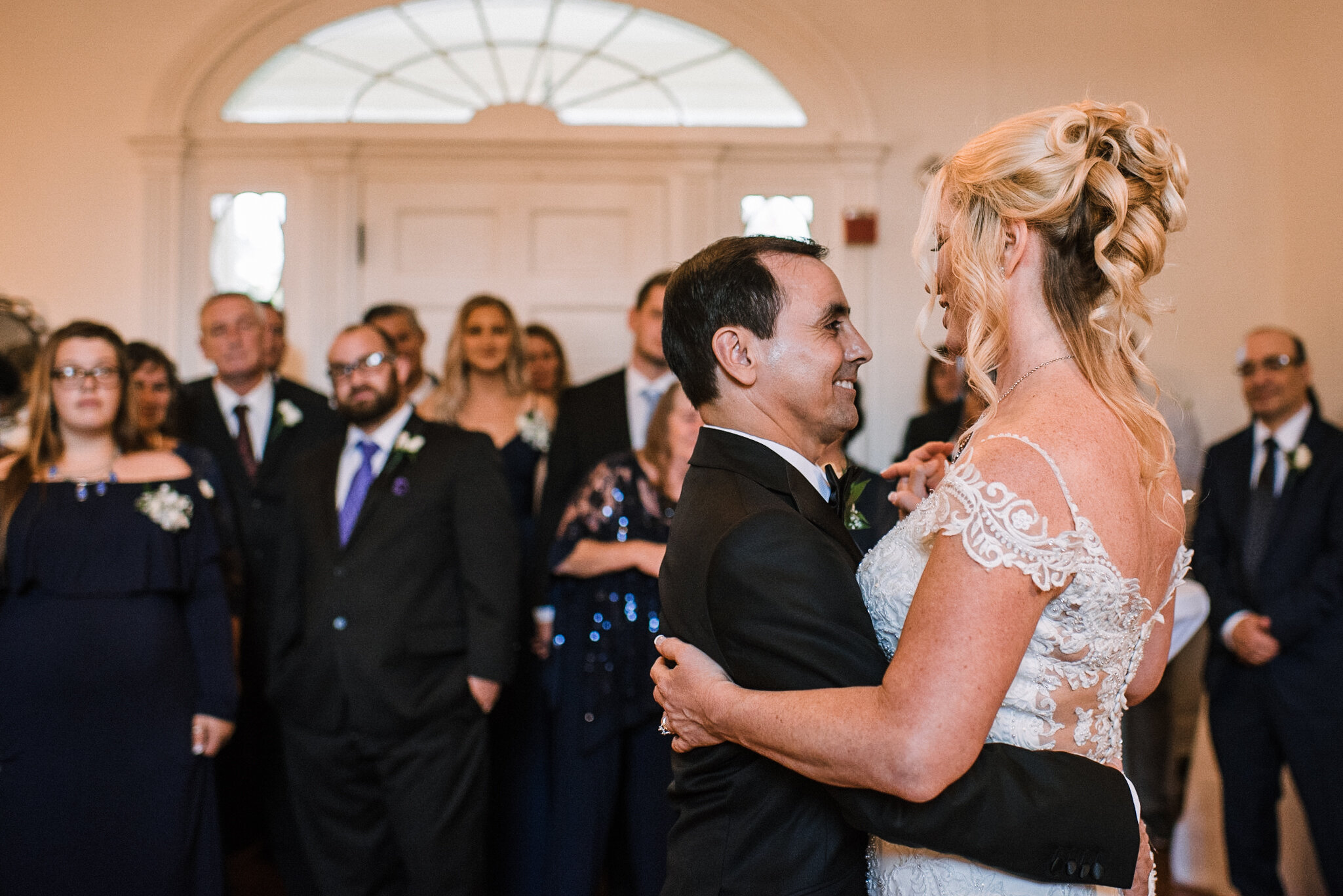bride and groom dancing at reception at Rust Manor House