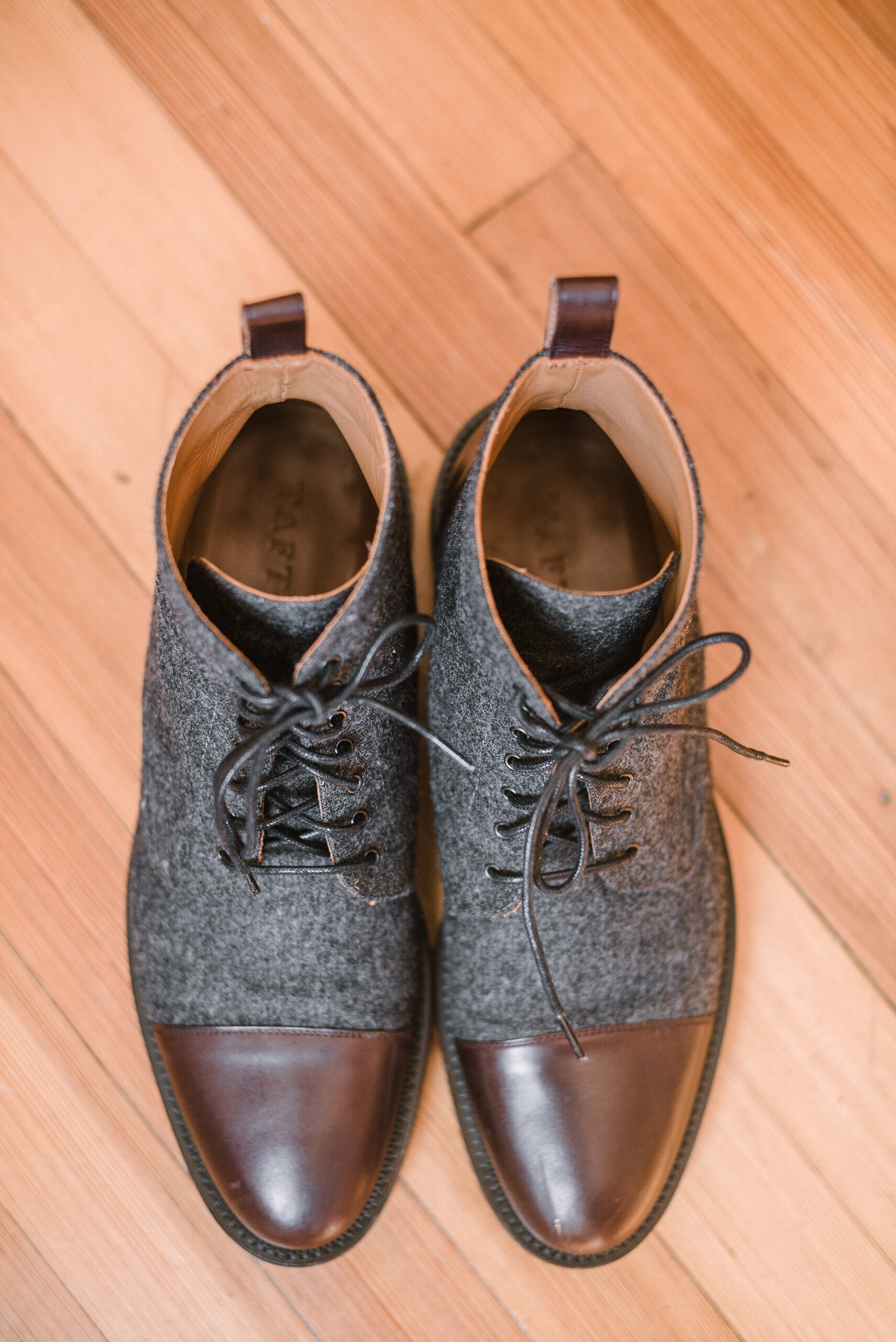 detail shot of groom's shoes at The Inn at Vint Hill