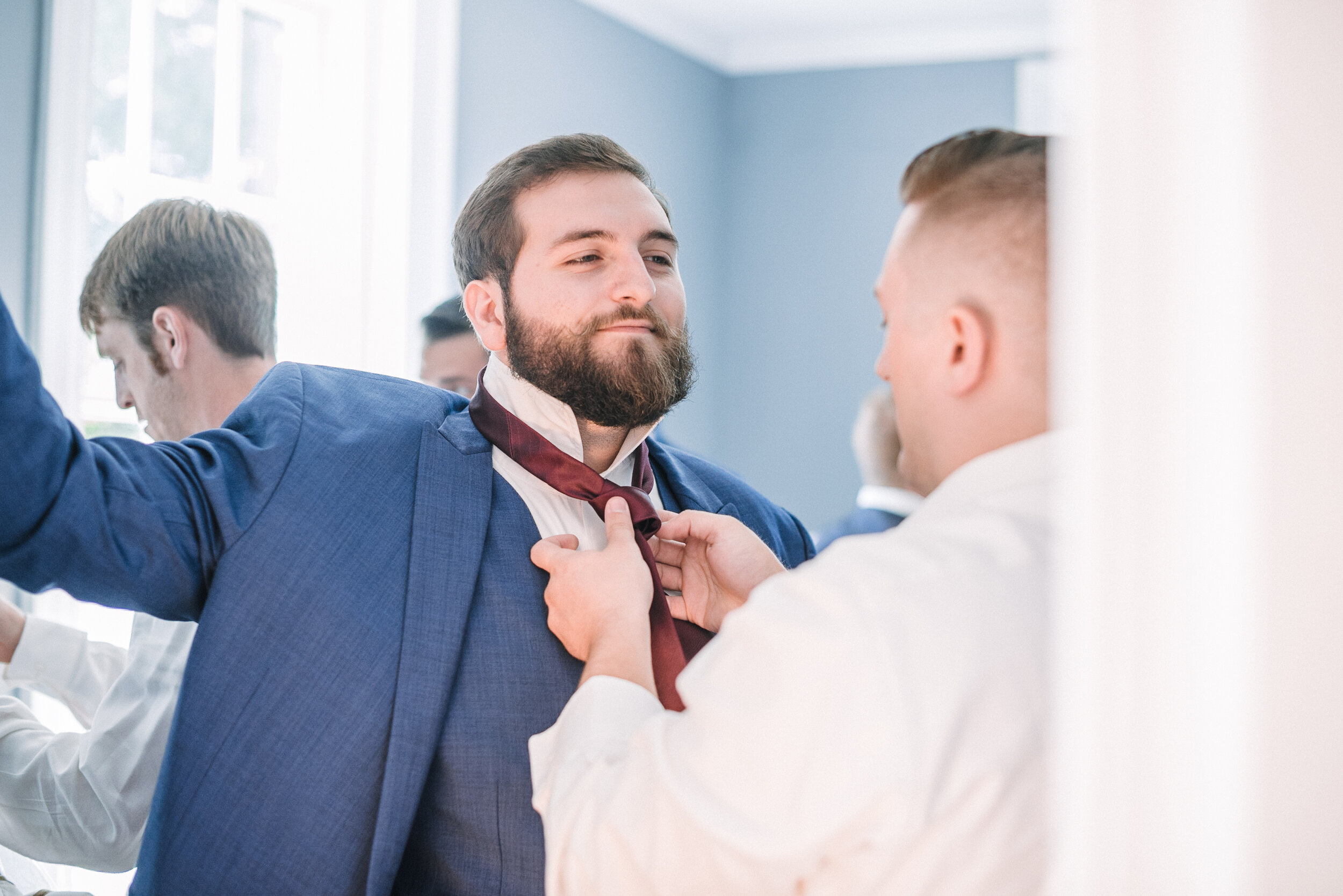 groom and groomsmen getting ready at The Inn at Vint Hill