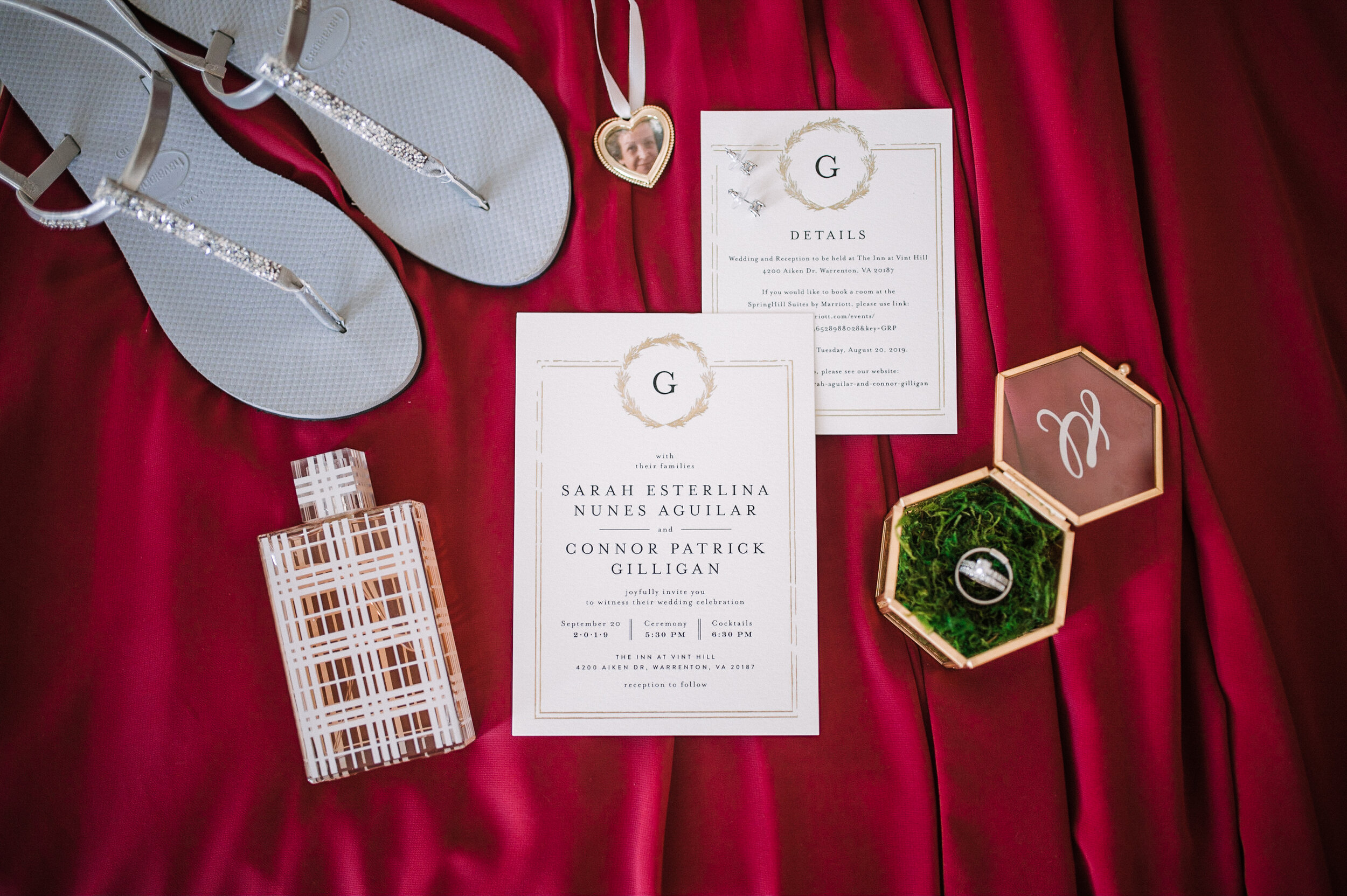 detail shot of wedding day stationery at The Inn at Vint Hill