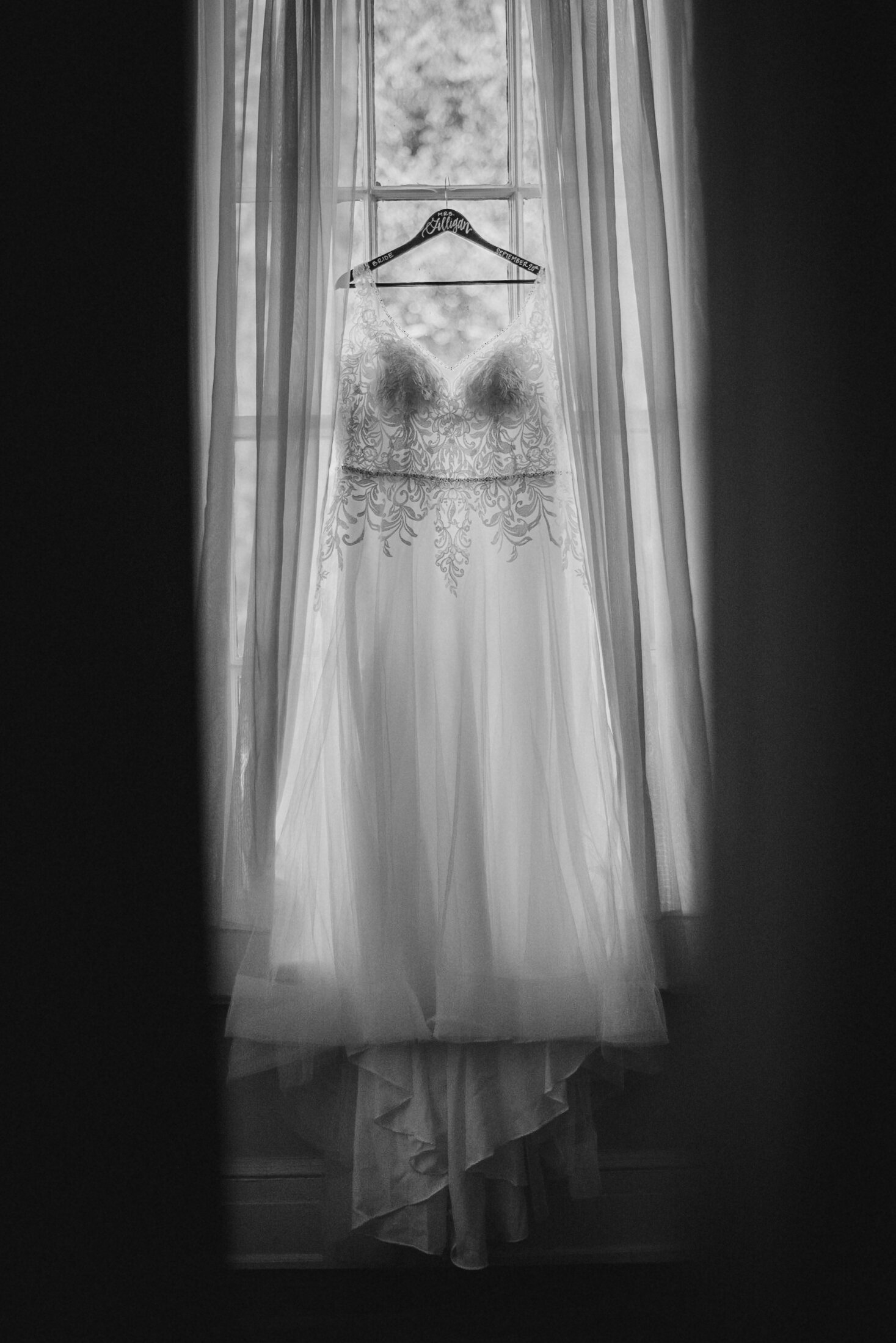 detail shot of wedding dress at The Inn at Vint Hill