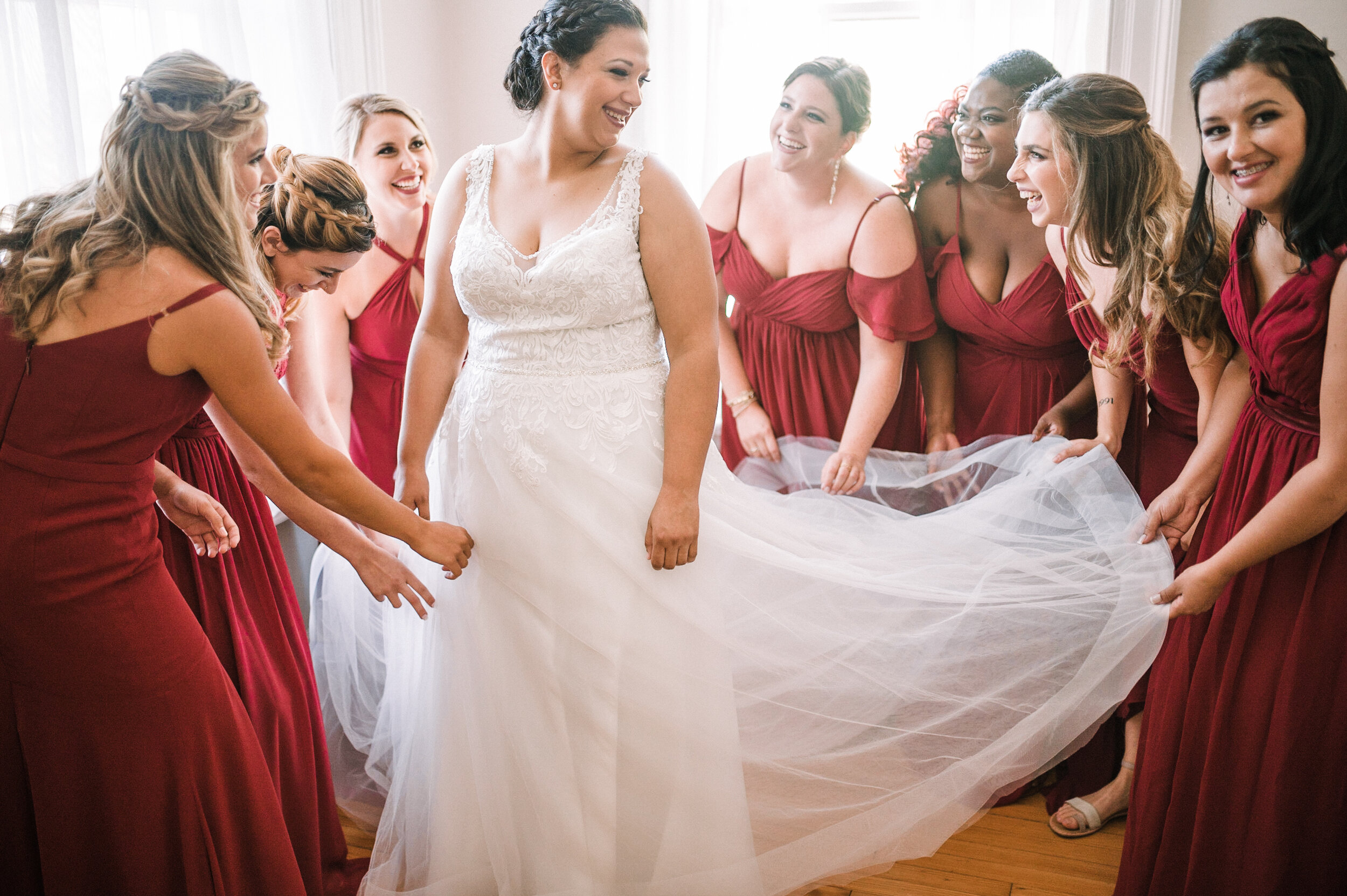 bride and bridesmaids getting ready at The Inn at Vint Hill