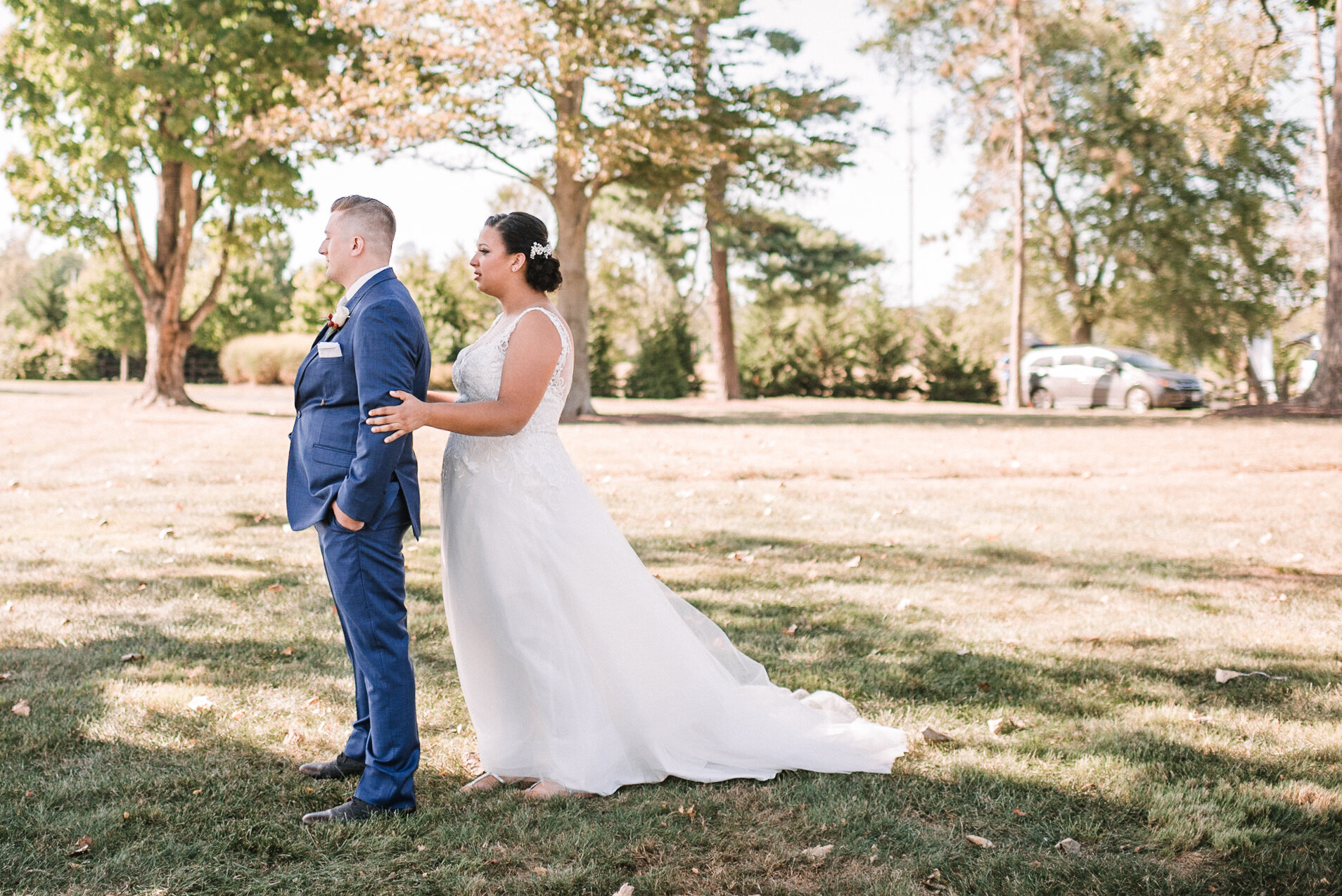 bride and groom first look at The Inn at Vint Hill