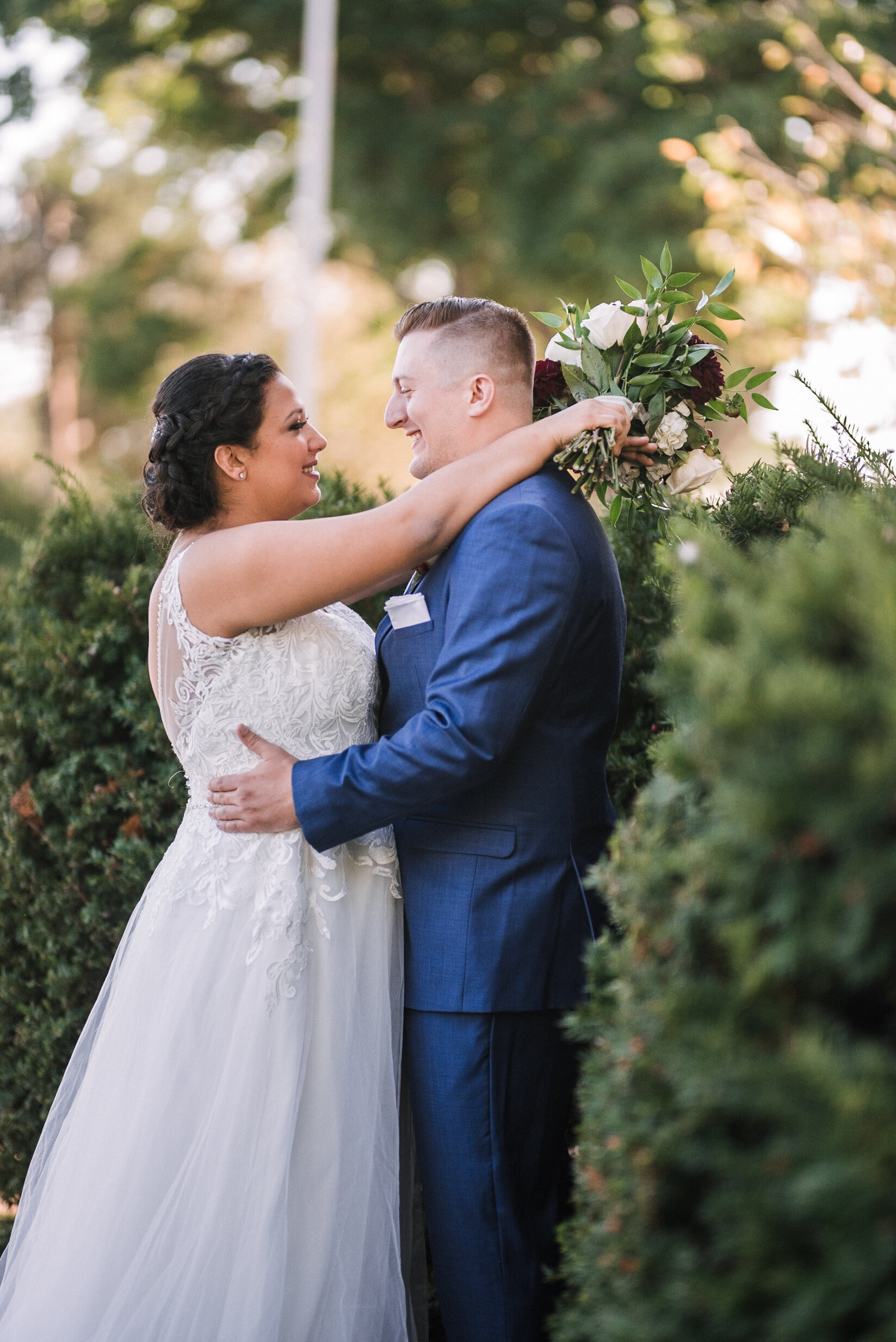bride and groom embracing at The Inn at Vint Hill
