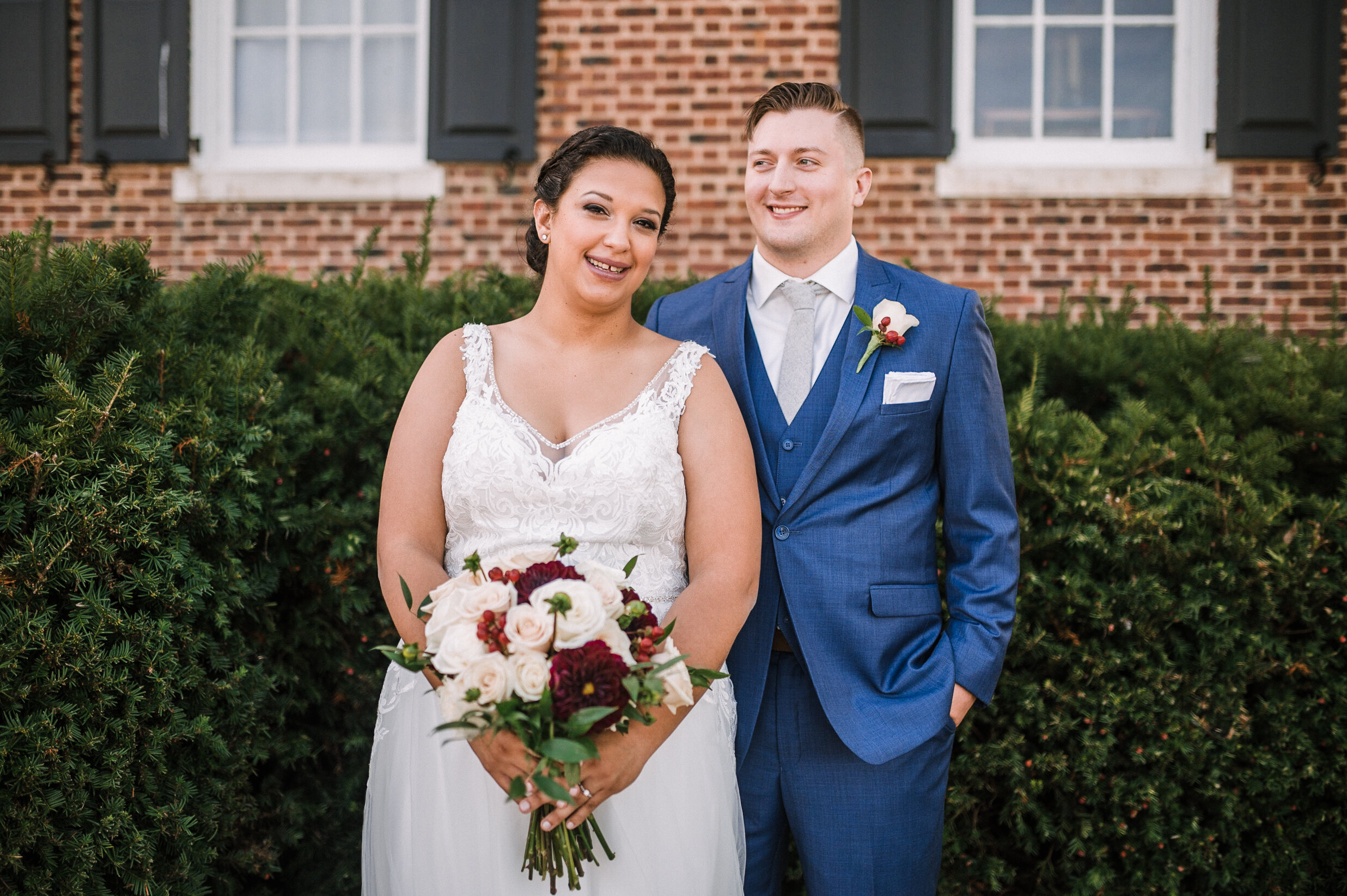 bride and groom smiling at The Inn at Vint Hill