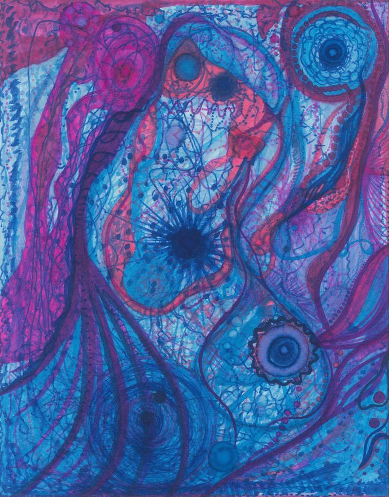 The Ocean's Blue Heart , 2014, Marker, 11 x 14 in