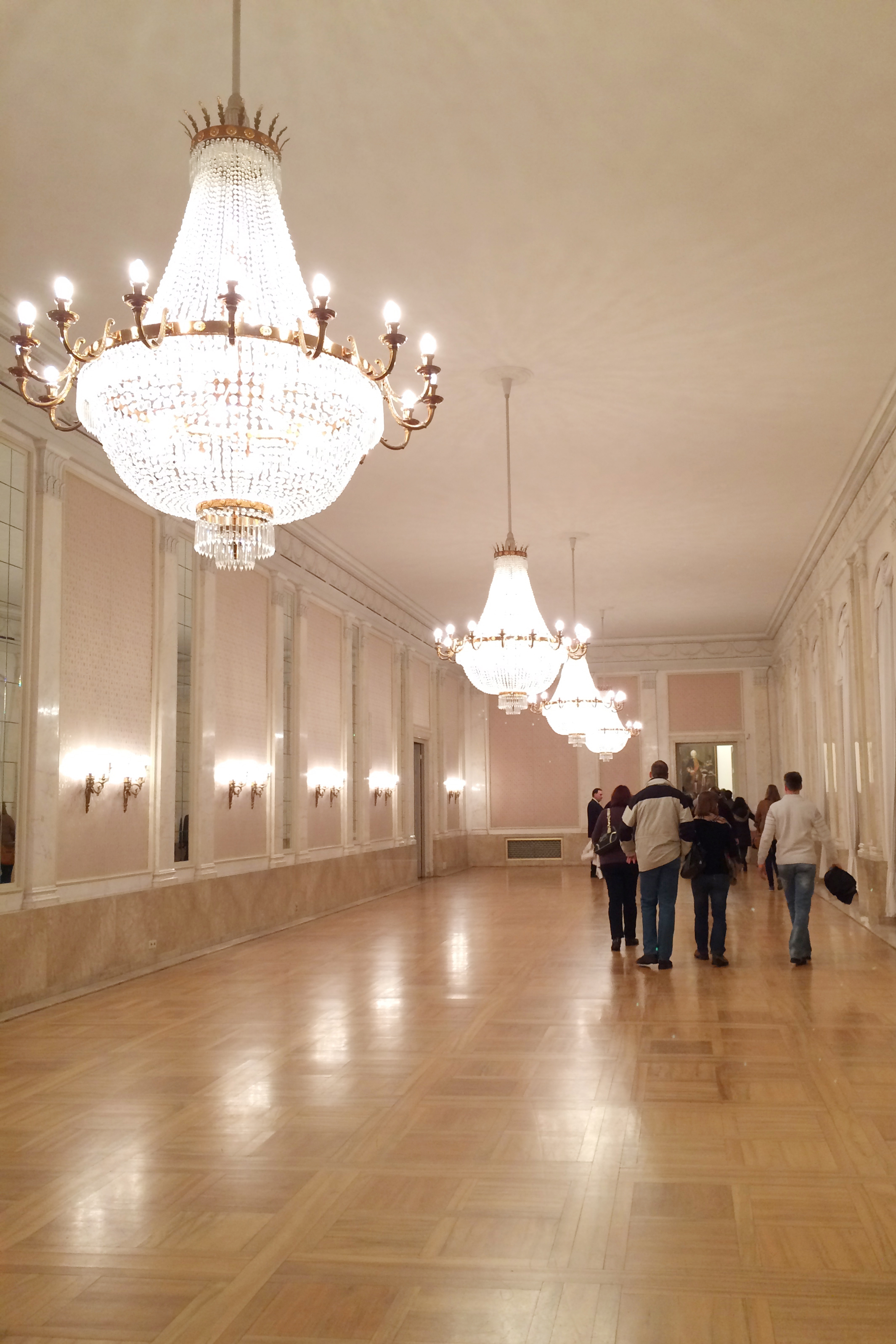 """Inside the Neues Schloss. Just after I took this picture, a couple from the tour started dancing in here. The tour guide laughed at them and said something in German. All I caught was """"Nein!.... Essen..."""" So I'm guessing this room is for eating, not dancing :)"""