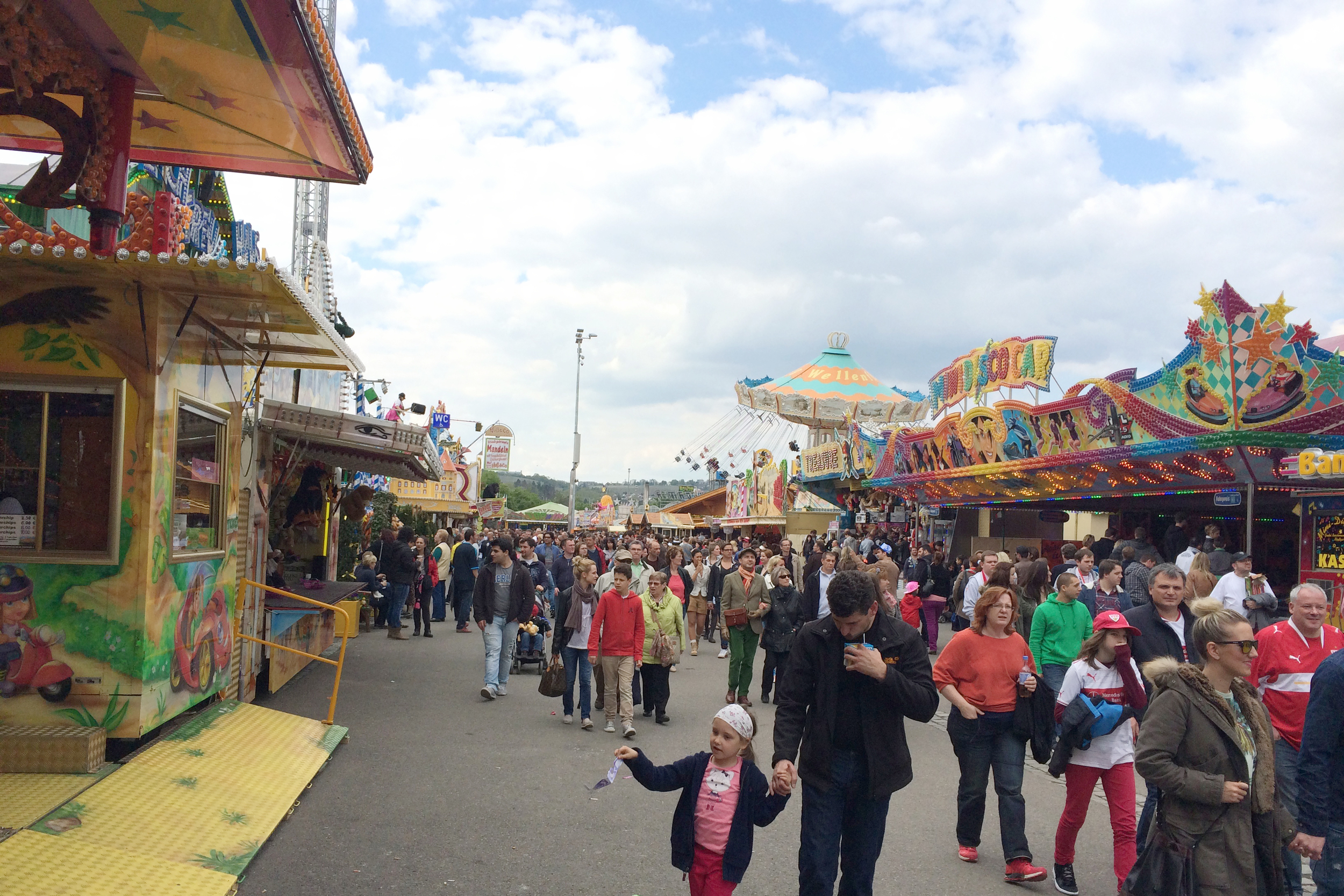 So, I thought Frühlingsfest would be flower carts and eggs and stuff. It turns out it is a big fair—with roller coasters, games, crowds, music, and food—who knew?