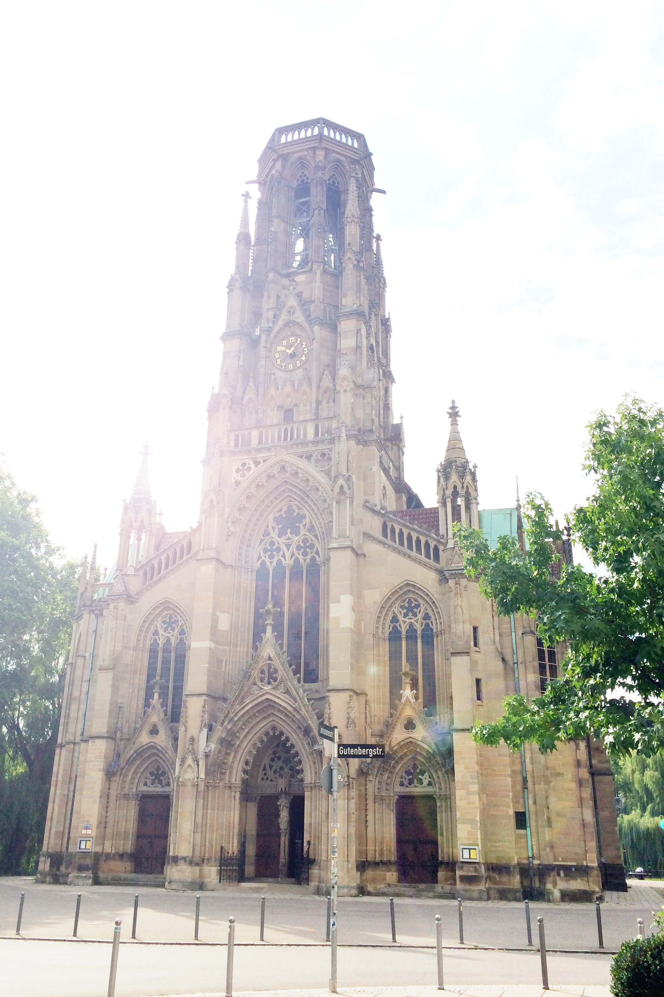 St. John's Church has a cool neo-Gothic exterior. The front faces a street...