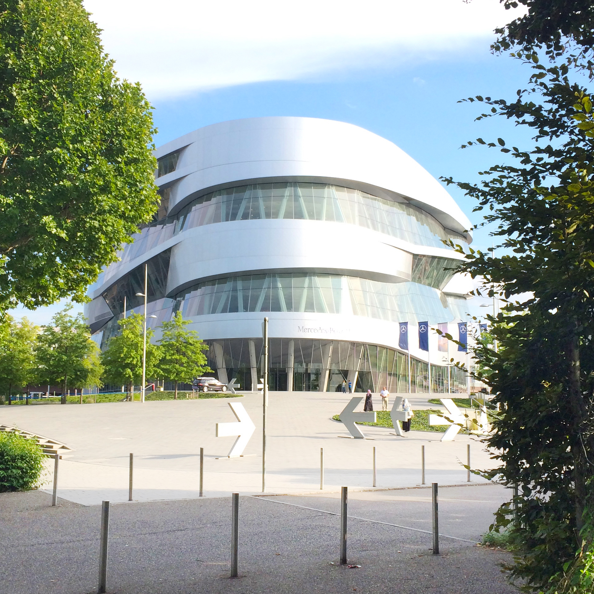 The Mercedes-Benz Museum is in  such an awesome building! You take an elevator to the top, then walk down a winding ramp through the decades.