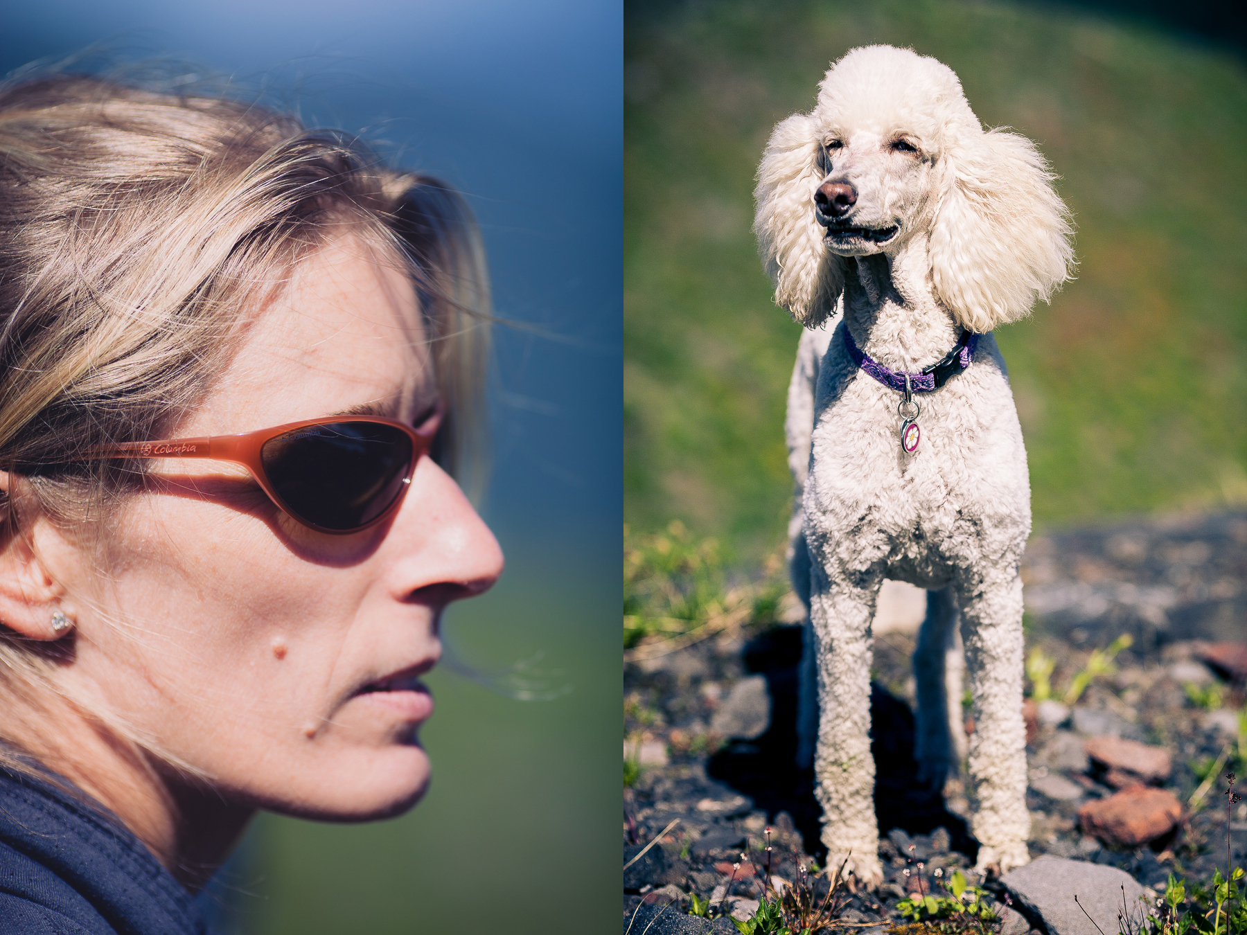 Erin on the left and her inimitable poodle Sasha on the right.
